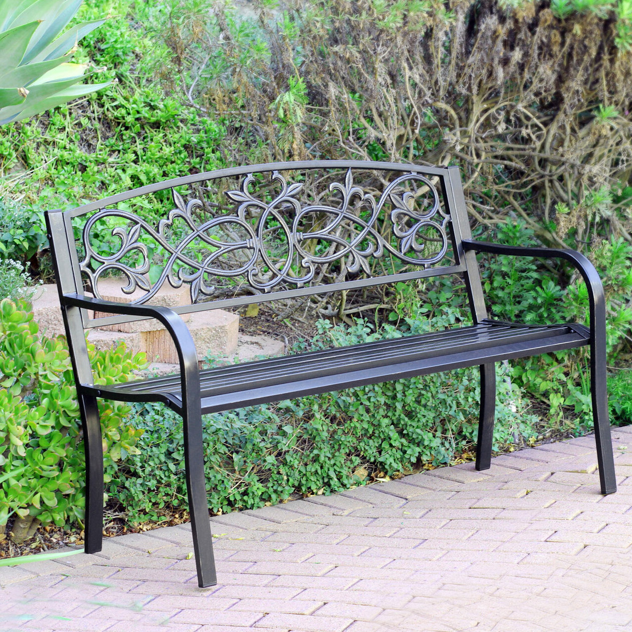 Lilah Steel Park Bench With Most Current Ismenia Checkered Outdoor Cast Aluminum Patio Garden Benches (View 18 of 30)