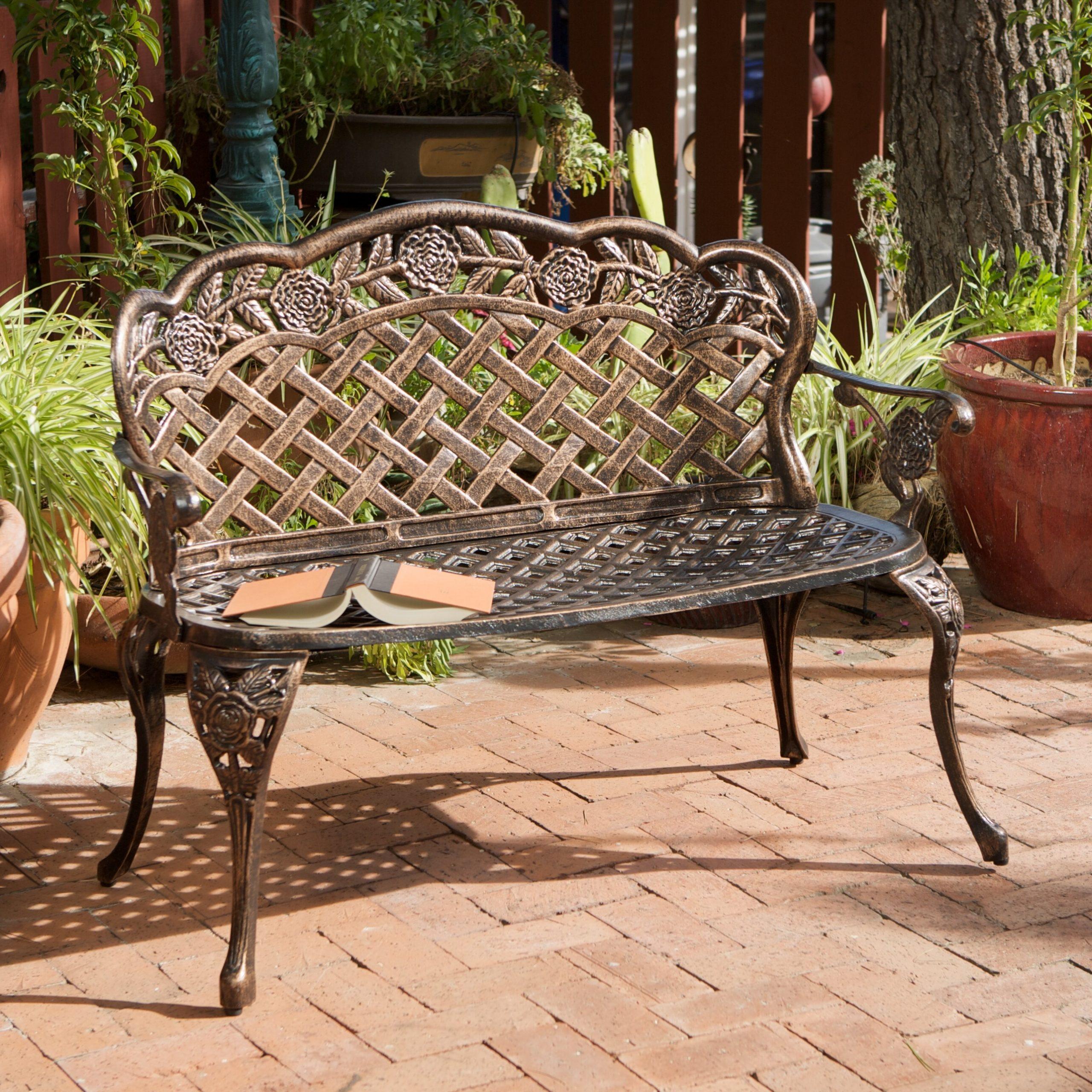 Madama Copper Garden Bench Inside Fashionable Ismenia Checkered Outdoor Cast Aluminum Patio Garden Benches (View 7 of 30)