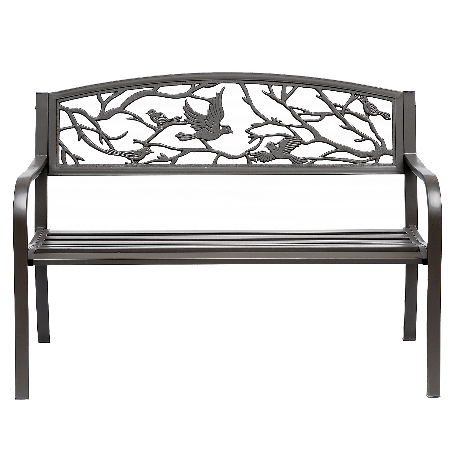 """Madeline Vintage Bird Cast Iron Garden Benches With Regard To Most Popular Outsunny 50"""" Vintage Bird Pattern Garden Cast Iron Patio Bench – Brown (View 9 of 30)"""