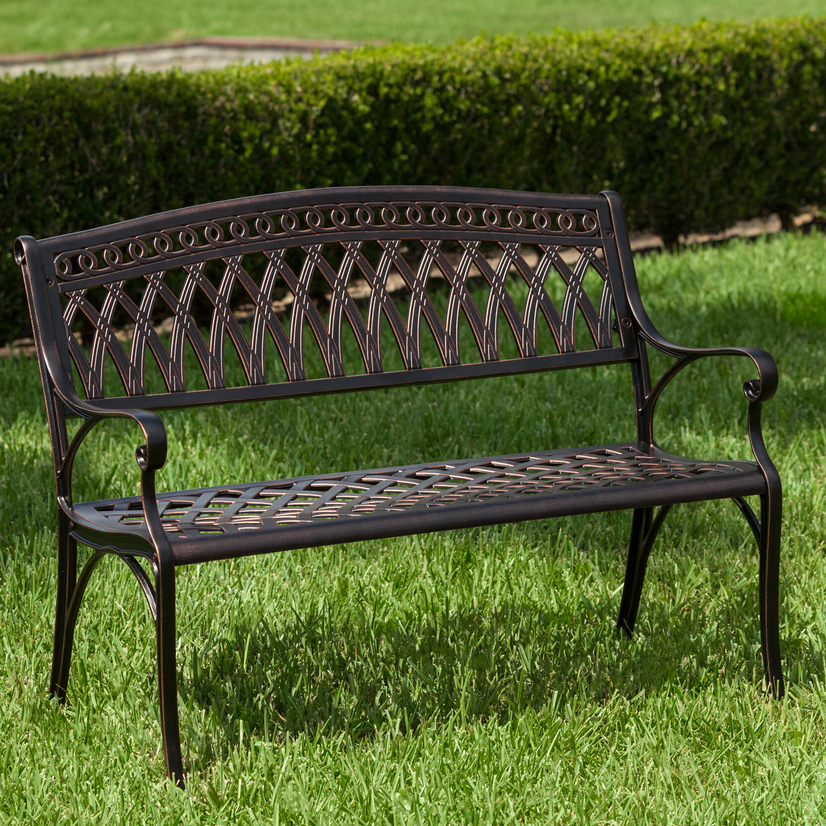 Madeline Vintage Bird Cast Iron Garden Benches Within Well Known Simone Cast Aluminum Garden Bench (View 5 of 30)