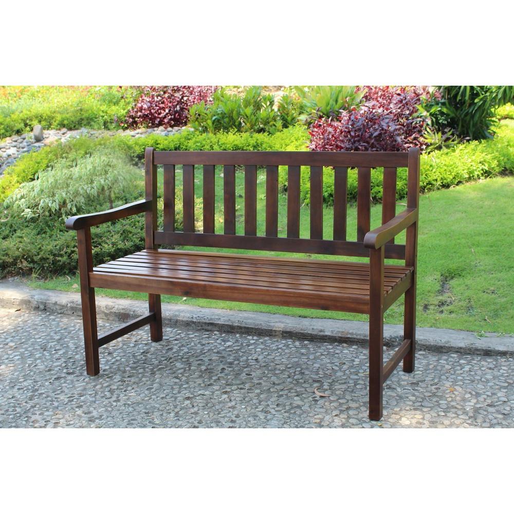 Maliyah Wooden Garden Benches Regarding Trendy International Caravan Highland 4' Wood Patio Bench (View 9 of 30)