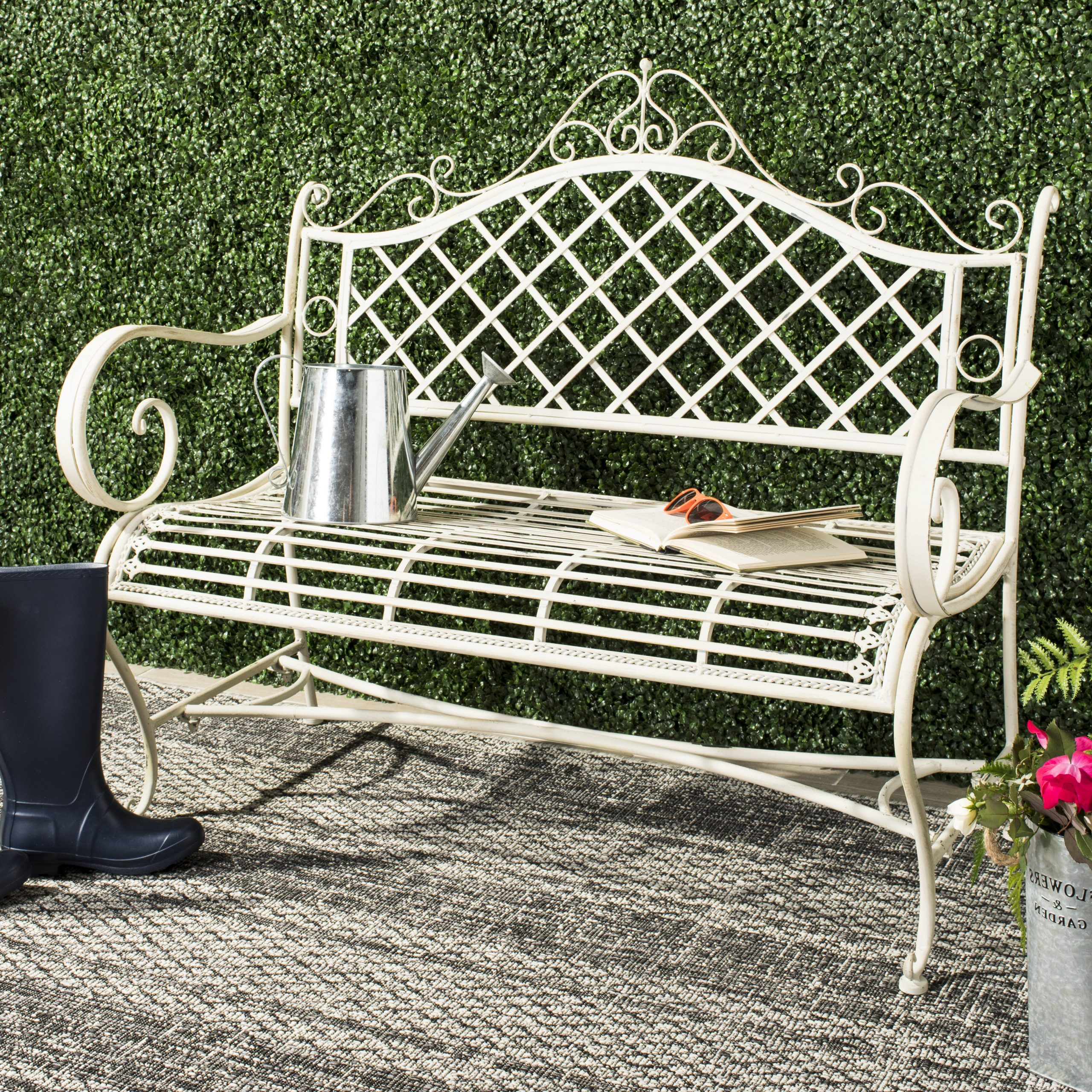 Maliyah Wooden Garden Benches With Well Liked Hornellsville Wrought Iron Garden Bench (View 10 of 30)