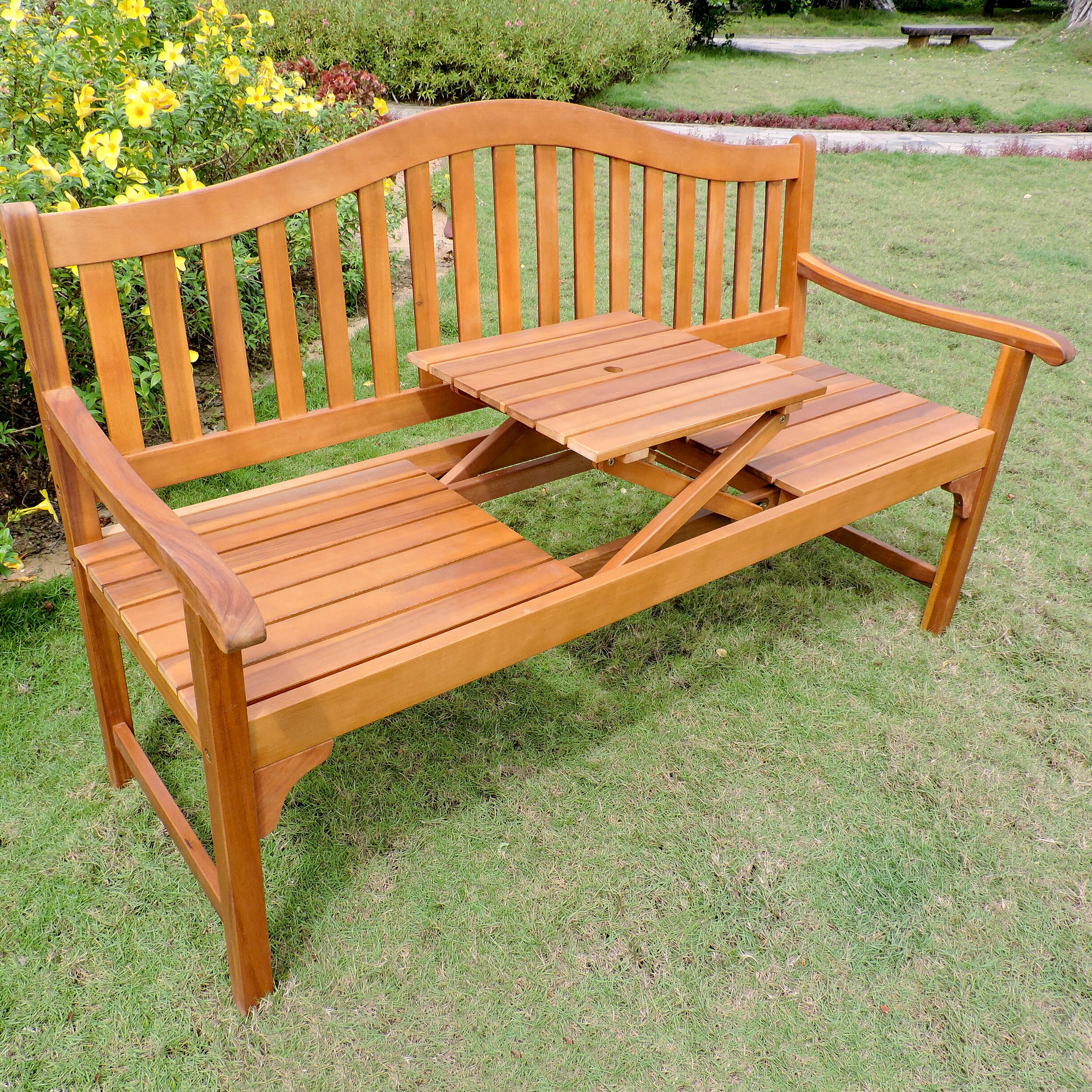 Manchester Solid Wood Garden Benches With Regard To Well Liked Leone Wooden Garden Bench (View 6 of 30)