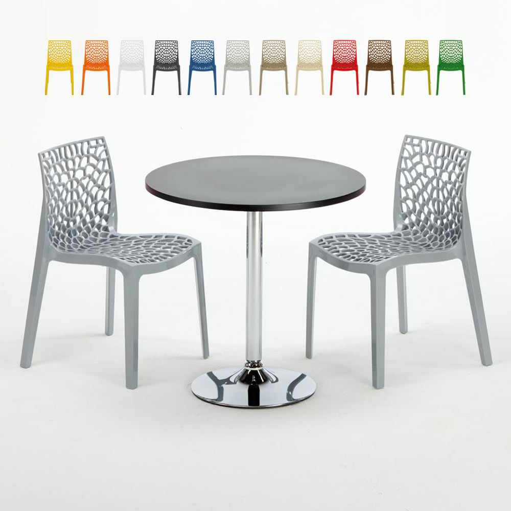 Messina Garden Stools Set (set Of 2) Intended For Trendy Cosmopolitan Set Made Of A 70x70cm Black Round Table And 2 Colourful Gruvyer Chairs (View 18 of 30)