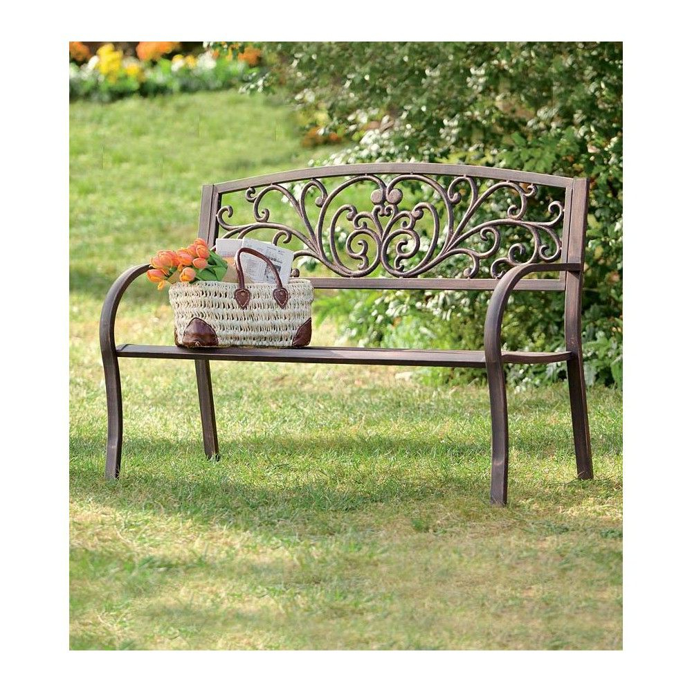 Metal Pertaining To Fashionable Blooming Iron Garden Benches (View 4 of 30)