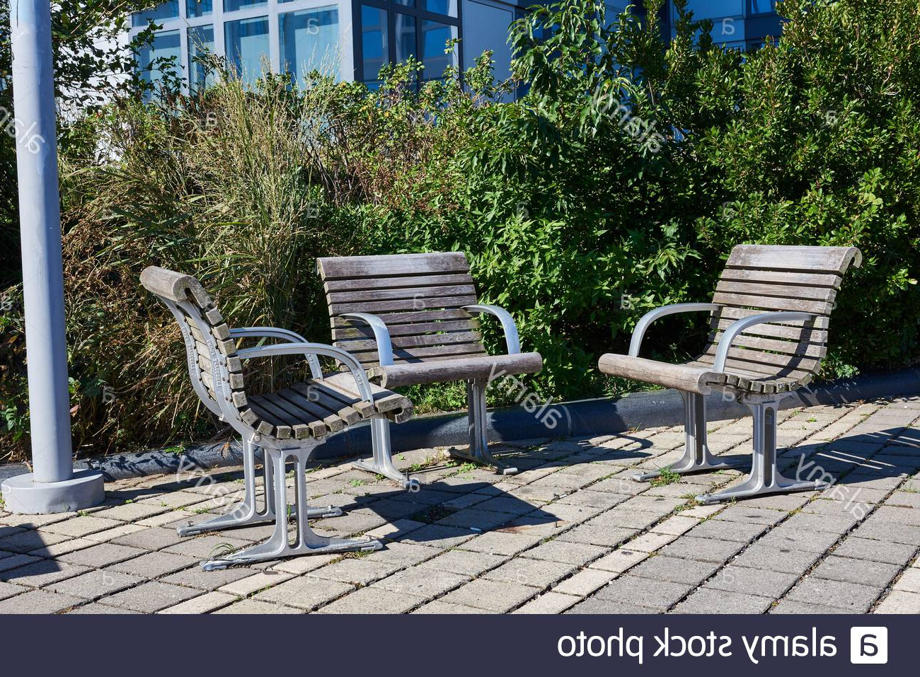 Metal Seats Seating High Resolution Stock Photography And Intended For 2020 Pauls Steel Garden Benches (View 17 of 30)