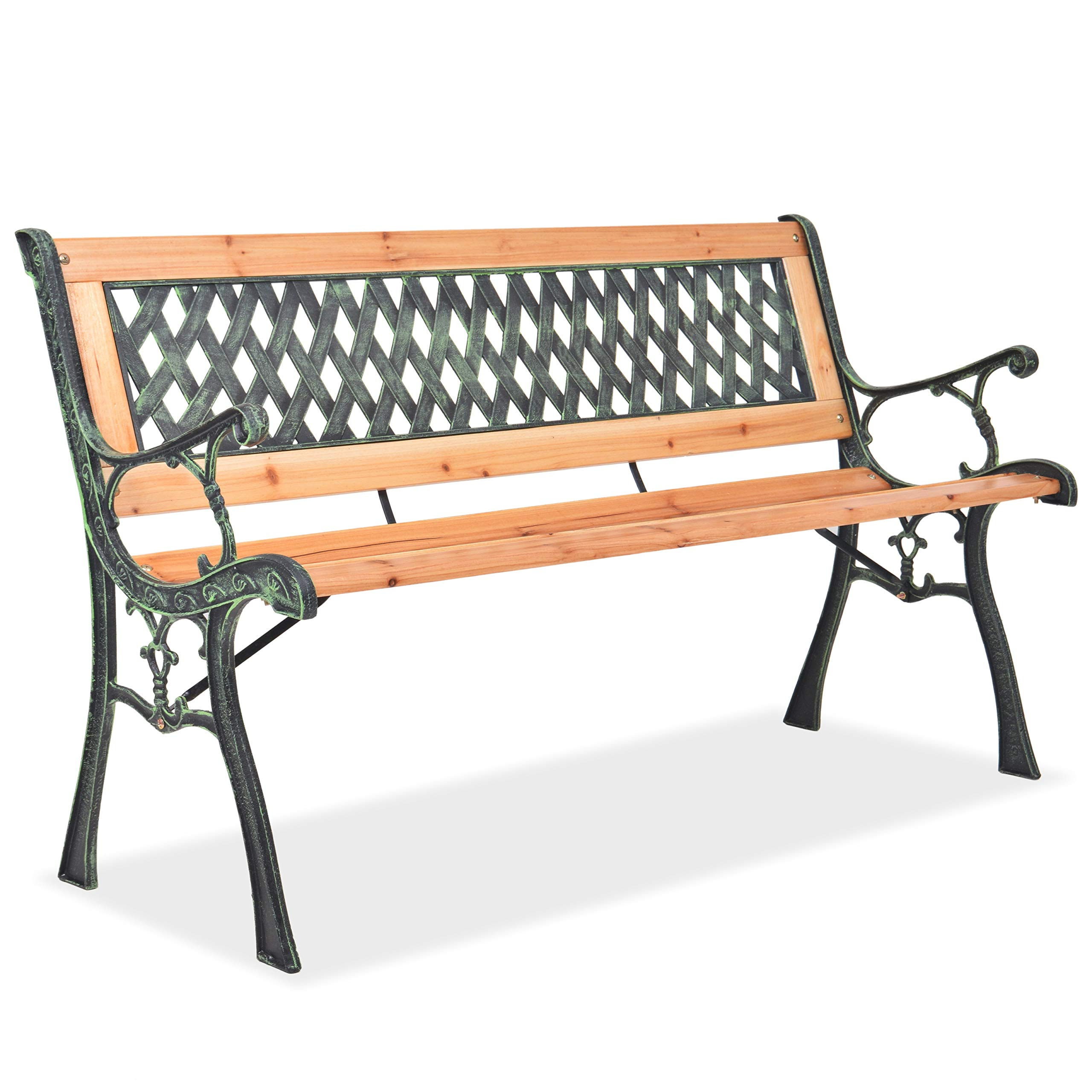 Michelle Metal Garden Benches Inside Trendy Vidaxl Garden Bench With Diamond Patterned Backrest Wood Seat Patio Furniture (View 19 of 30)
