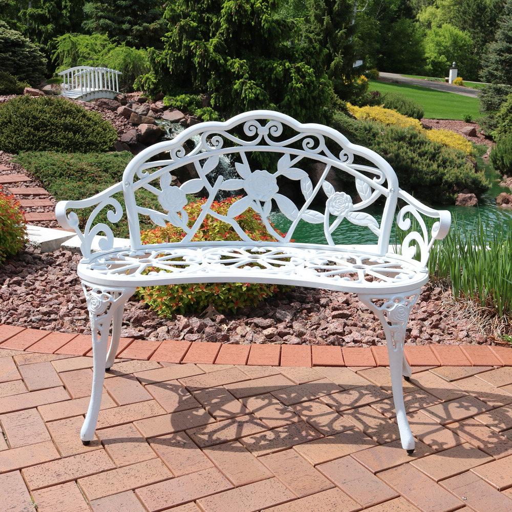 Montezuma Cast Aluminum Garden Bench Inside Favorite Cavin Garden Benches (View 10 of 30)