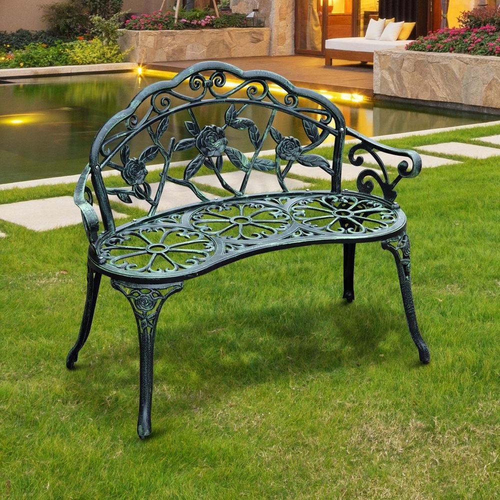 Montezuma Cast Aluminum Garden Benches Regarding Well Liked Garden Park Bench Cast Iron Antique Green Finish Outdoor (View 8 of 30)