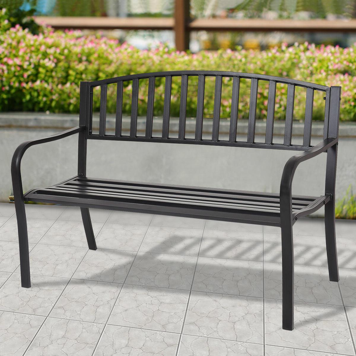 Morin Patio Garden Bench Regarding Recent Heslin Steel Park Benches (View 6 of 30)
