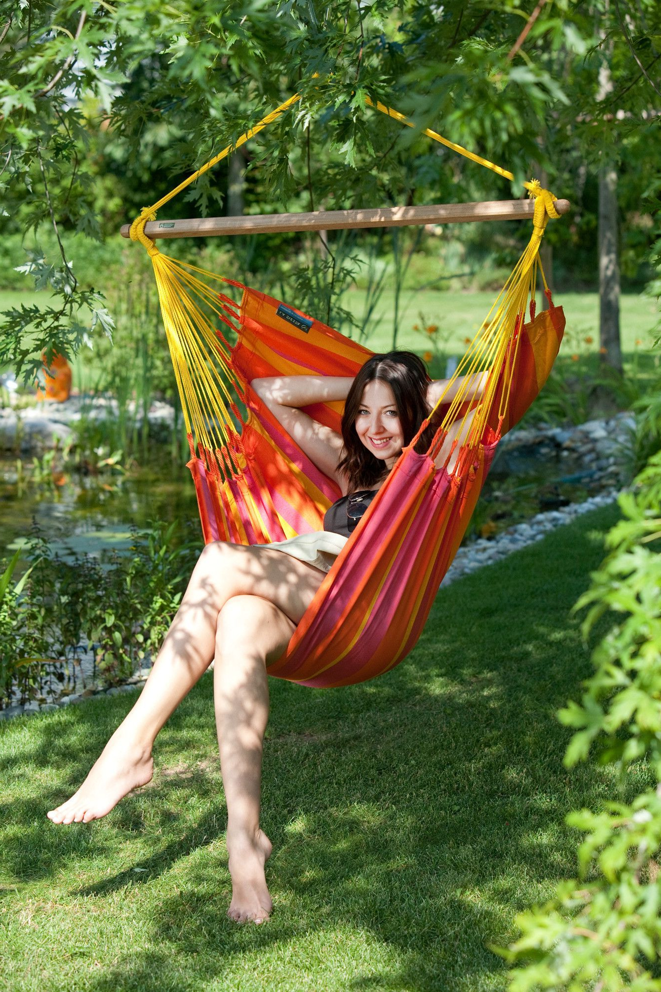 Most Current Ahana Wooden Garden Benches With Sonrisa Weatherproof Basic Olefin Chair Hammock (View 21 of 30)