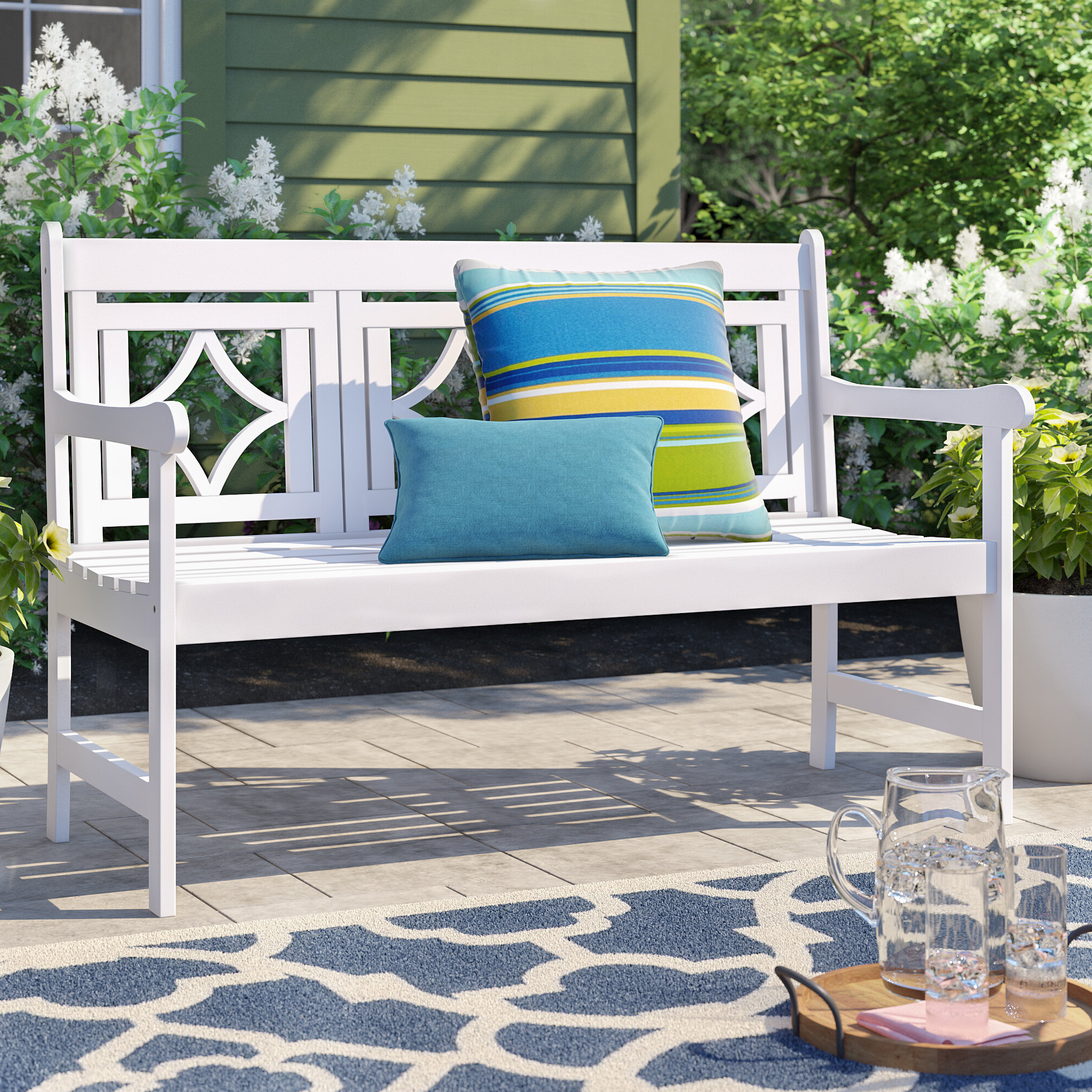 Most Current Delagarza Patio Diamond Wooden Garden Bench Inside Amabel Patio Diamond Wooden Garden Benches (View 5 of 30)