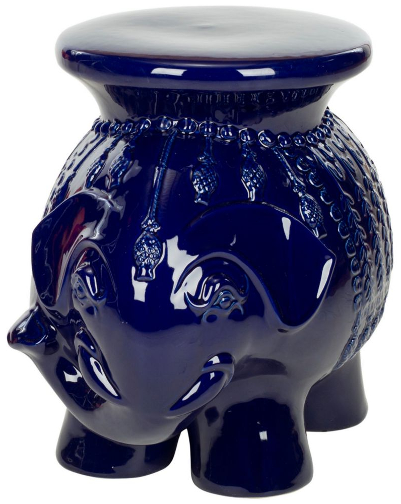 Most Current Harwich Ceramic Garden Stools With Regard To Elephant Ceramic Patio Stool In Navy (View 18 of 30)