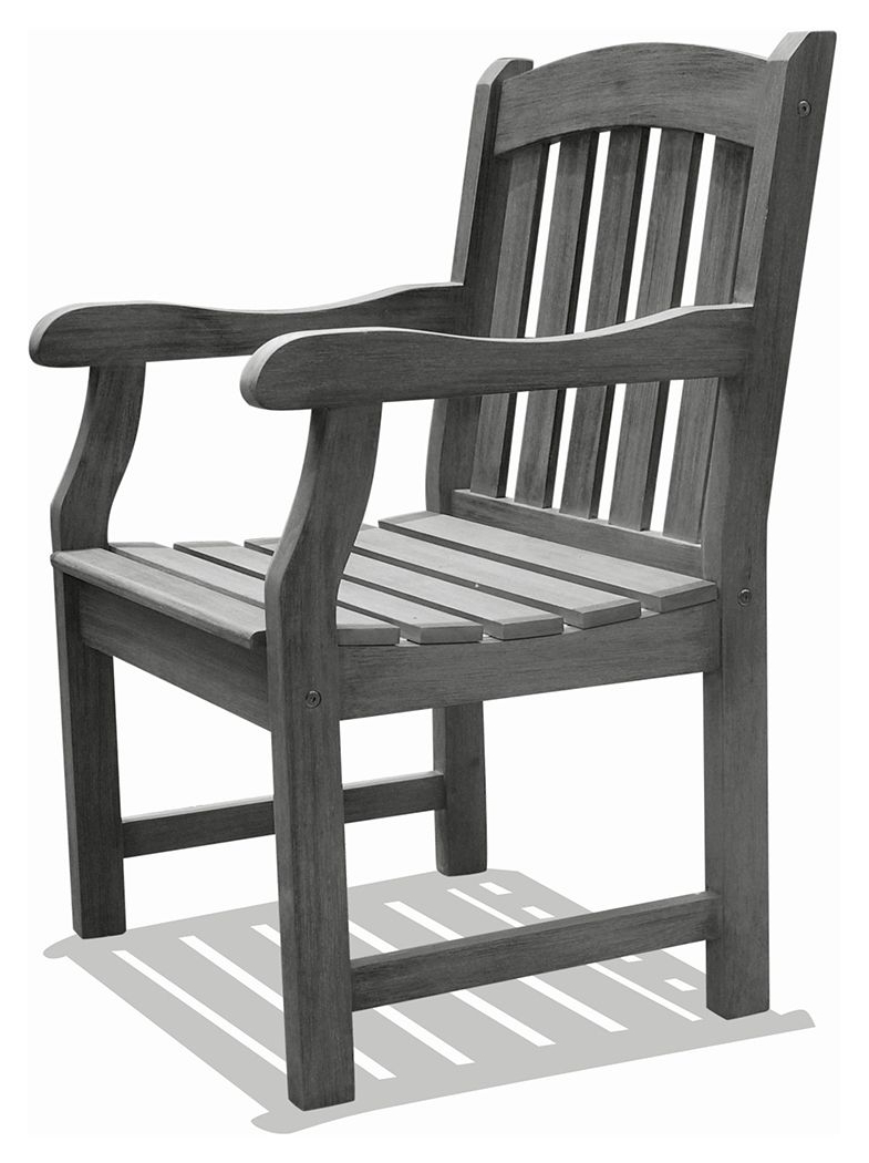Most Current Renaissance Outdoor Hand Scraped Wood Garden Armchair In Throughout Ismenia Checkered Outdoor Cast Aluminum Patio Garden Benches (View 30 of 30)