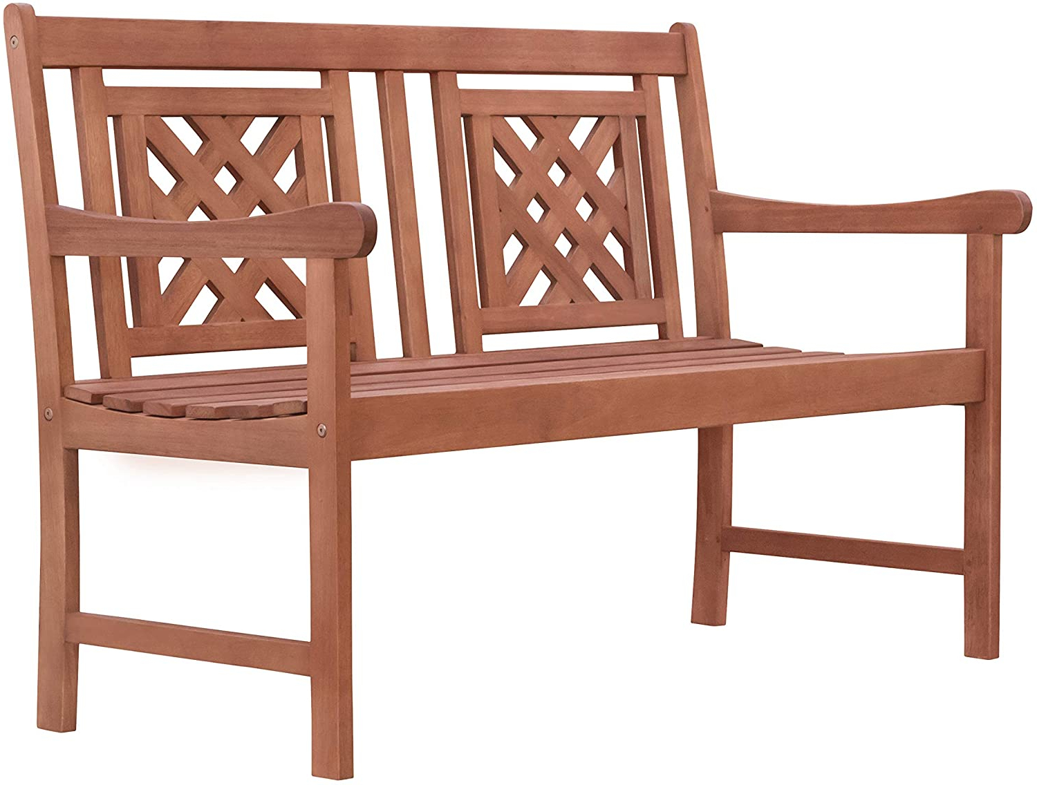 Most Popular Guyapi Garden Benches With Regard To Vifah Malibu Outdoor Patio Plaid 4 Foot Eucalyptus Hardwood Bench (View 29 of 30)