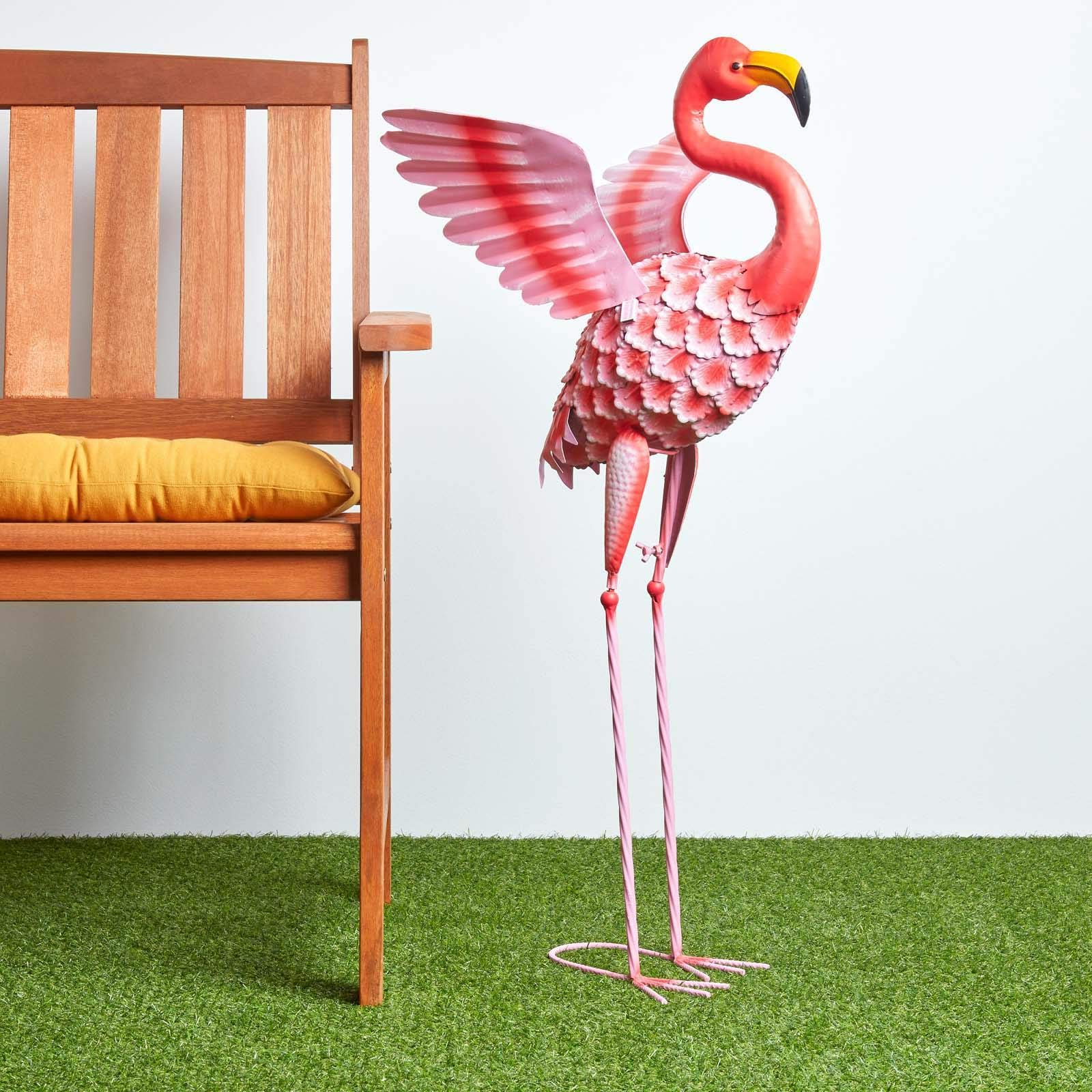 Most Popular Homescapes Metal Garden Bright Pink Flamingo Statue With For Flamingo Metal Garden Benches (View 5 of 30)