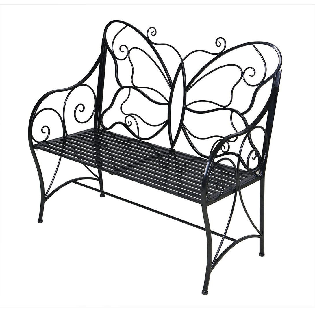 Most Popular Metal Antique Outdoor Garden Bench Leisure Butterfly Bench, Black – Walmart In Caryn Colored Butterflies Metal Garden Benches (View 19 of 30)