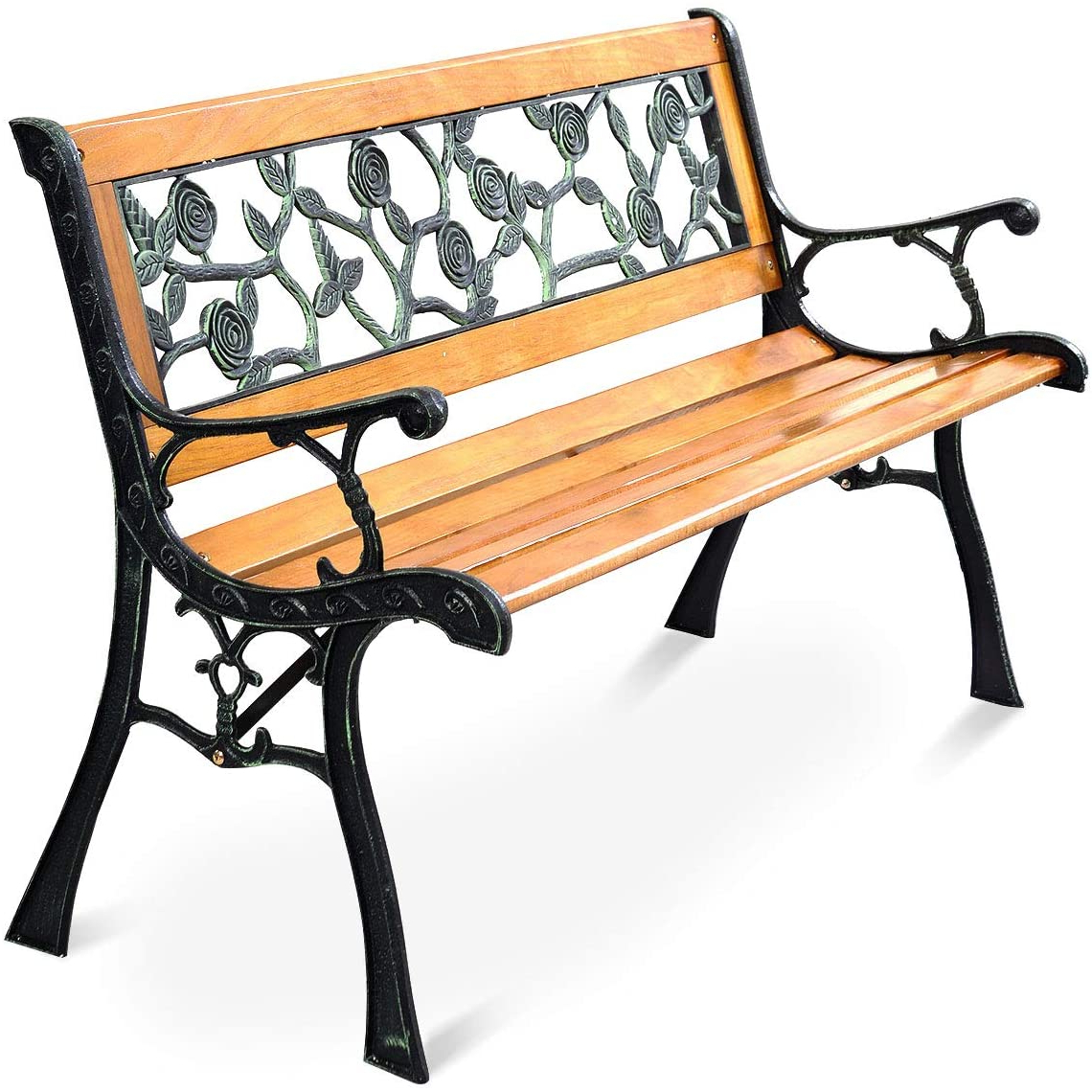 Most Popular Michelle Metal Garden Benches In Giantex 50'' Patio Park Garden Bench, Outdoor Furniture Rose Cast Iron Hardwood Frame Porch Loveseat For 2 Person Outdoor (View 13 of 30)