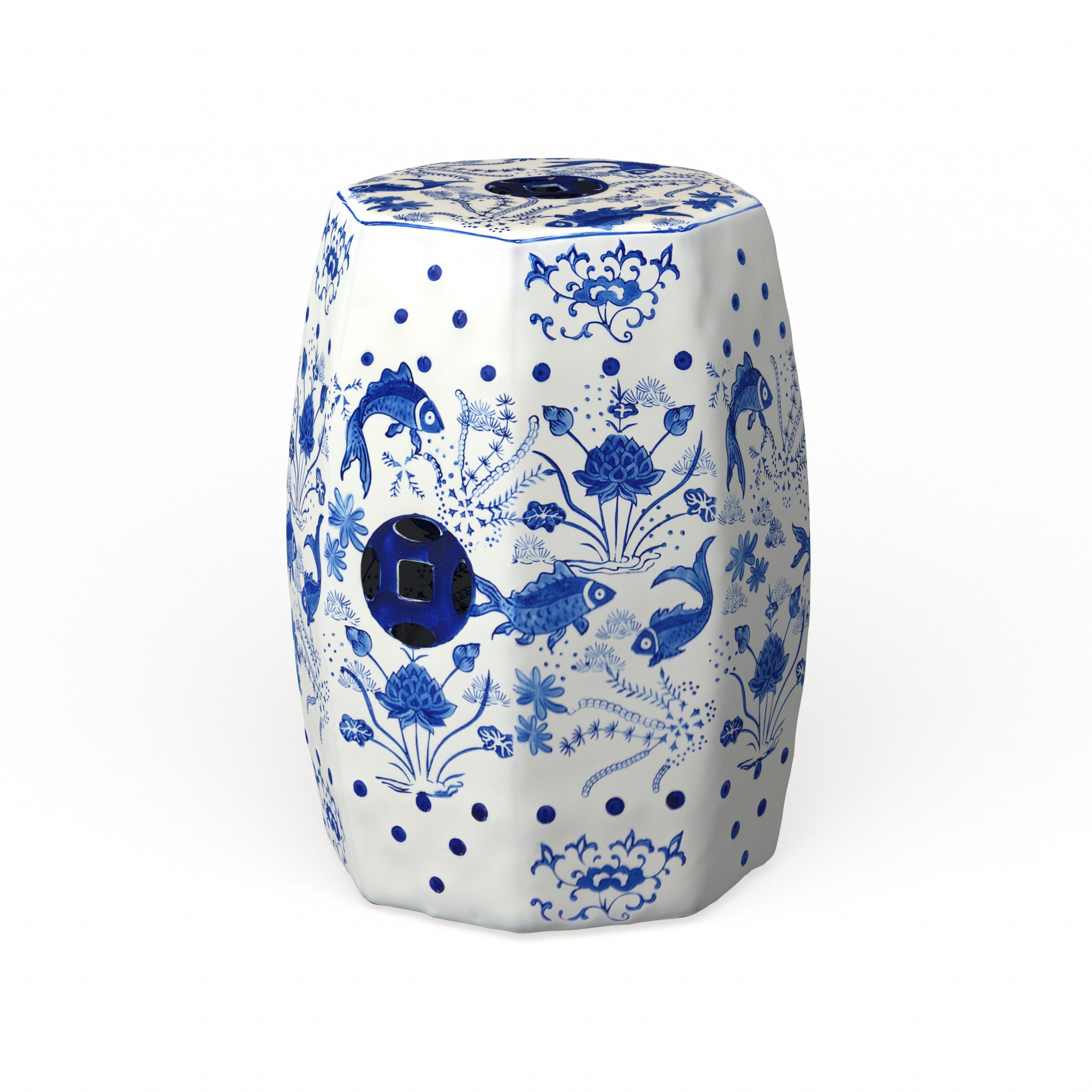 Most Popular Renee Porcelain Garden Stools Throughout Safavieh Cloud 9 Chinoiserie Blue Koi Ceramic Decorative Garden Stool (View 30 of 30)