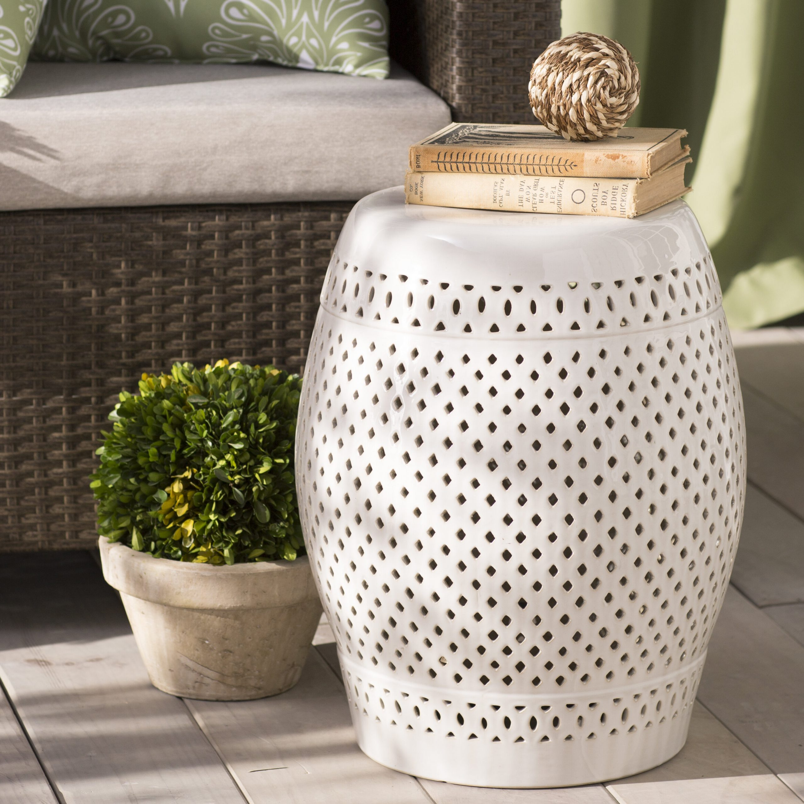 Most Popular Rivera Ceramic Garden Stool Intended For Kelston Ceramic Garden Stools (View 14 of 30)