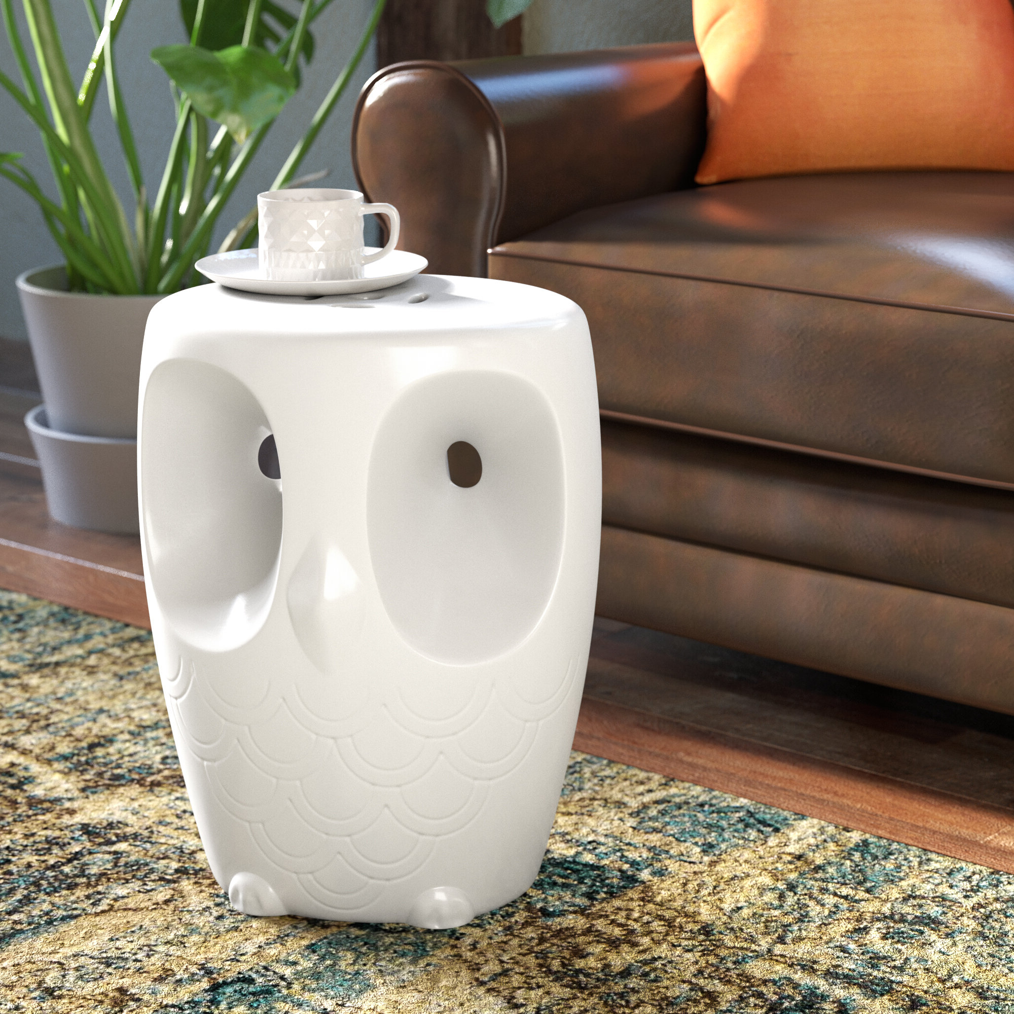 Most Popular Svendsen Ceramic Garden Stools Throughout Noreen Owl Garden Stool (View 15 of 30)