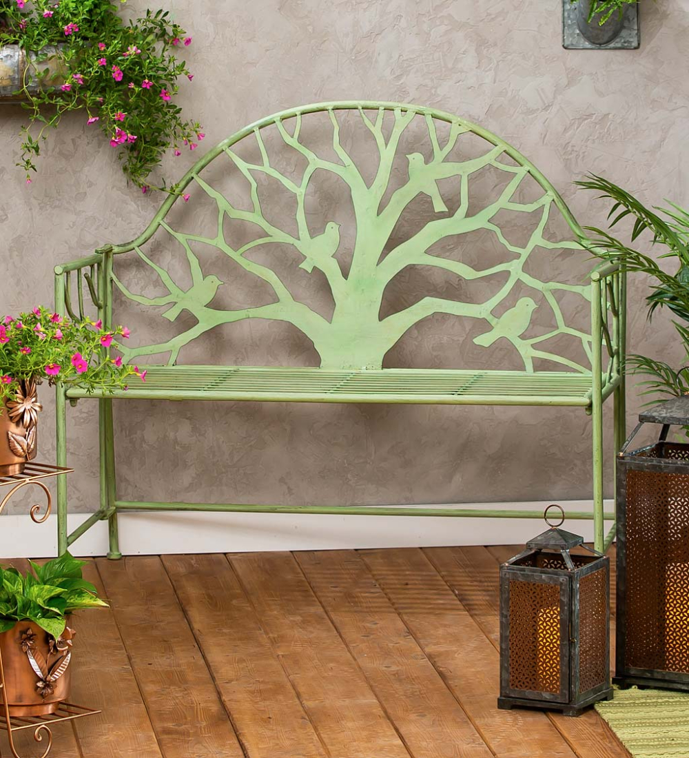 Most Popular Tree Of Life Iron Garden Benches With Regard To Our Green Metal Tree Of Life Garden Bench Makes A Statement (View 10 of 30)