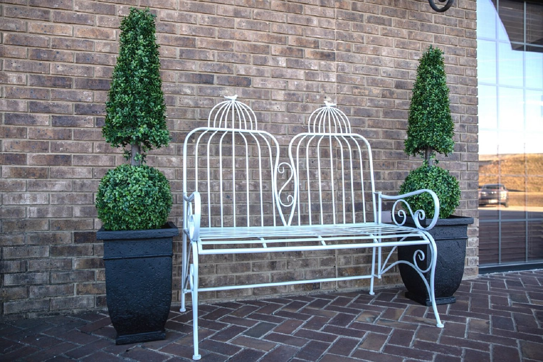 Most Popular Zev Blue Fish Metal Garden Benches Pertaining To Rafferty Metal Garden Bench (View 4 of 30)