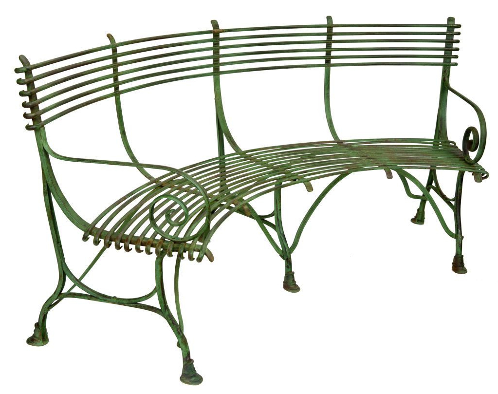 Most Recent Blooming Iron Garden Benches Within French Green Iron Curved Garden Bench With Scroll Arms And (View 30 of 30)