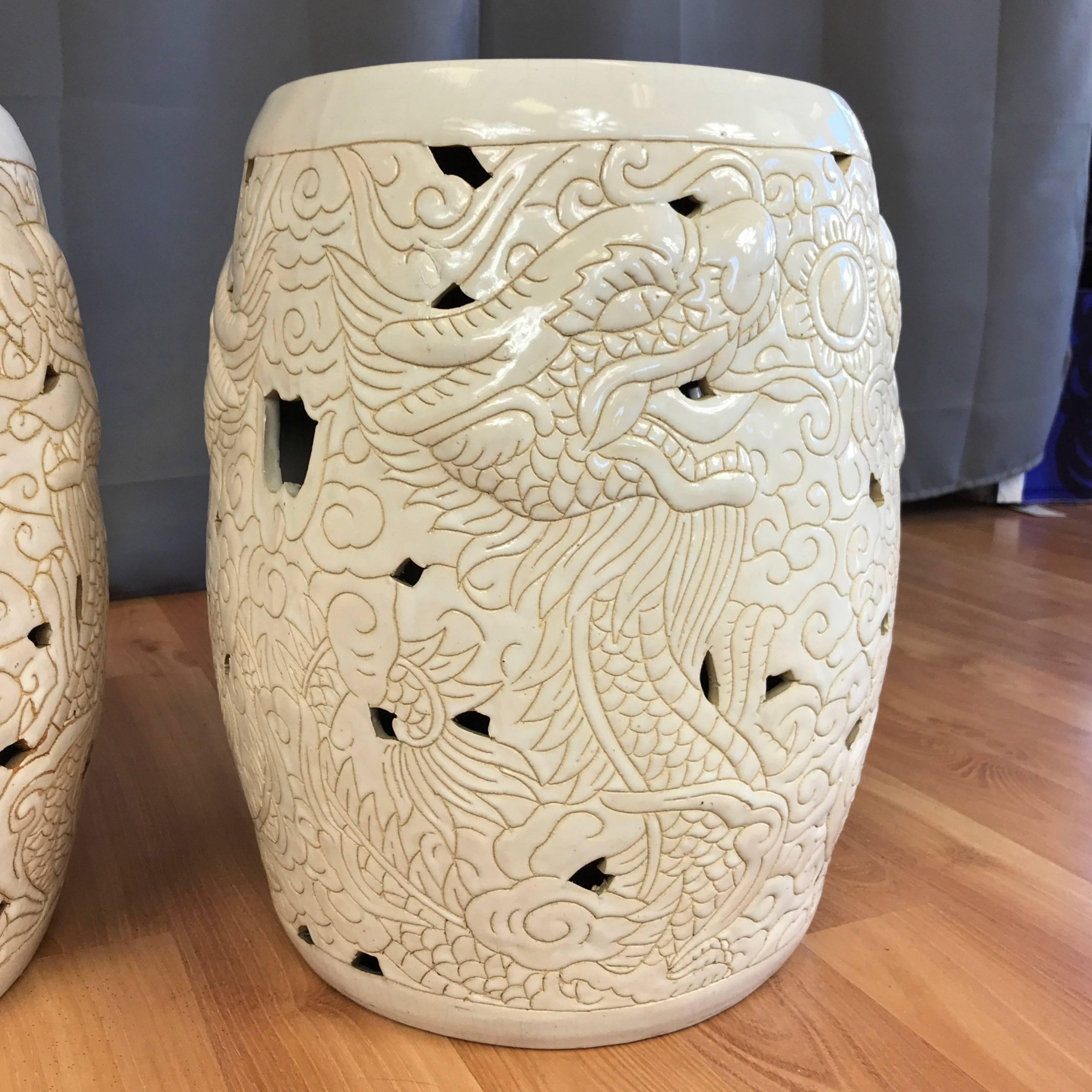 Most Recent Pair Of Vintage Chinese Dragon Motif White Ceramic Garden Stools For Oakside Ceramic Garden Stools (View 20 of 30)