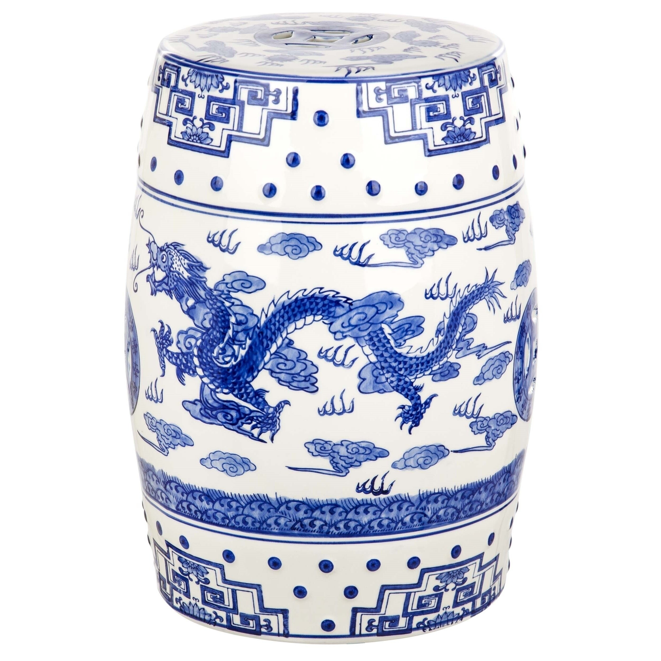 Most Recently Released Ceramic Garden Stools Pertaining To Safavieh Dragon's Breath Chinoiserie Blue Ceramic Decorative Garden Stool (View 22 of 30)