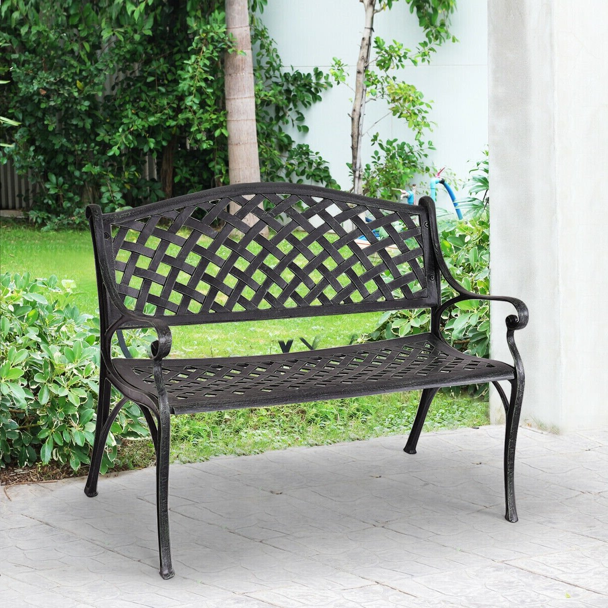 Most Recently Released Gehlert Traditional Patio Iron Garden Benches Within Yesler Aluminum Garden Bench (View 16 of 30)