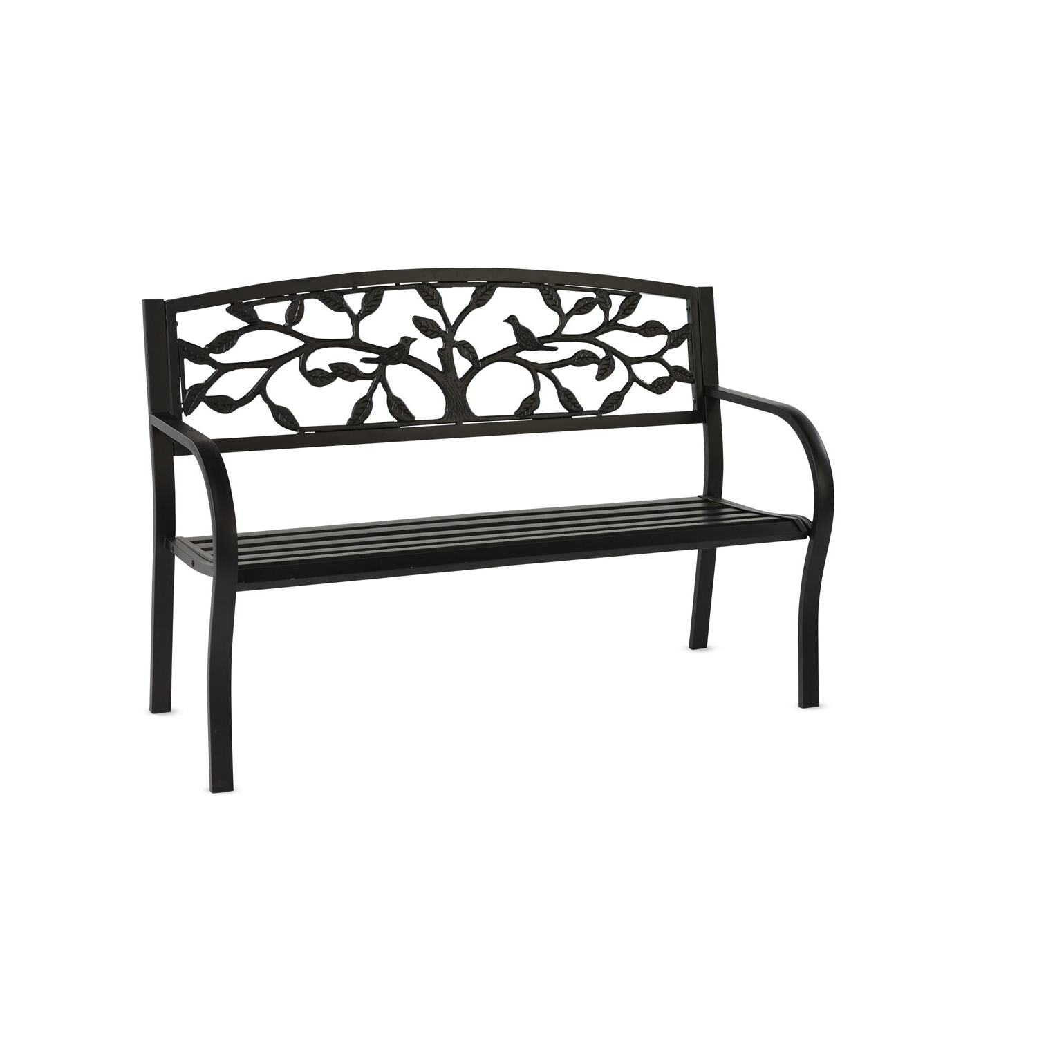 Most Recently Released Norrie Metal Garden Benches Intended For Tree Of Life Metal Garden Bench – Black (View 8 of 30)