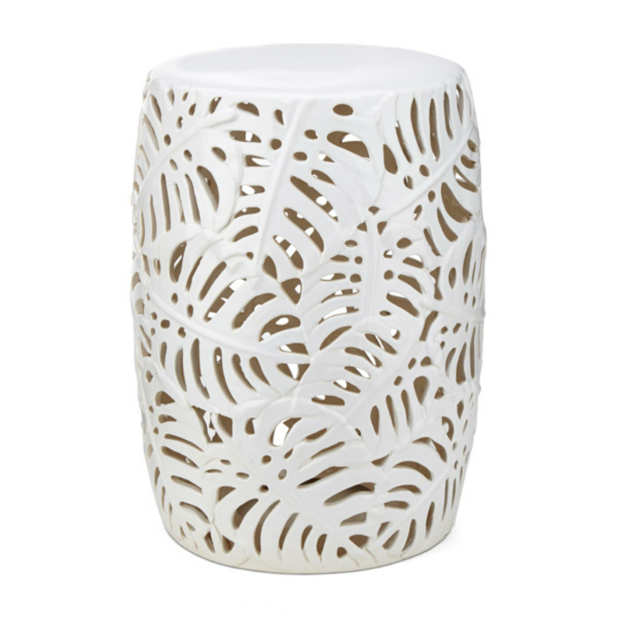 Most Recently Released Svendsen Ceramic Garden Stools Pertaining To Lachlan Palm Leaf Cutwork Pattern Ceramic Garden Stool (View 6 of 30)