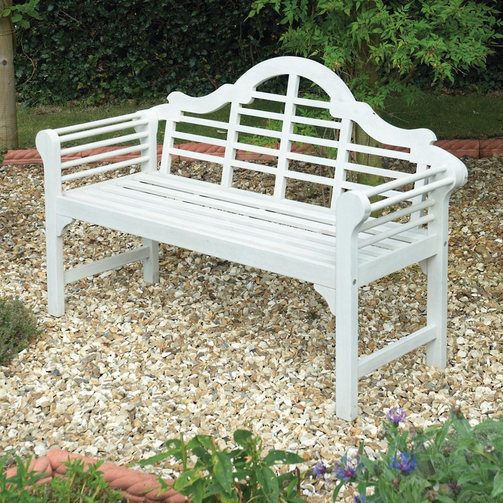Most Up To Date Alfon Wood Garden Benches Regarding Gablemere Lutyens White Garden Bench (View 19 of 30)
