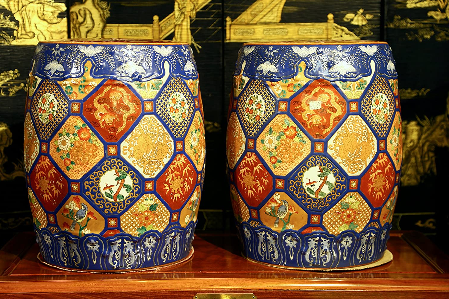 Most Up To Date Amazon: Tny A Pair Of Chinese Porcelain Garden Stools With Dragon Garden Stools (View 11 of 30)