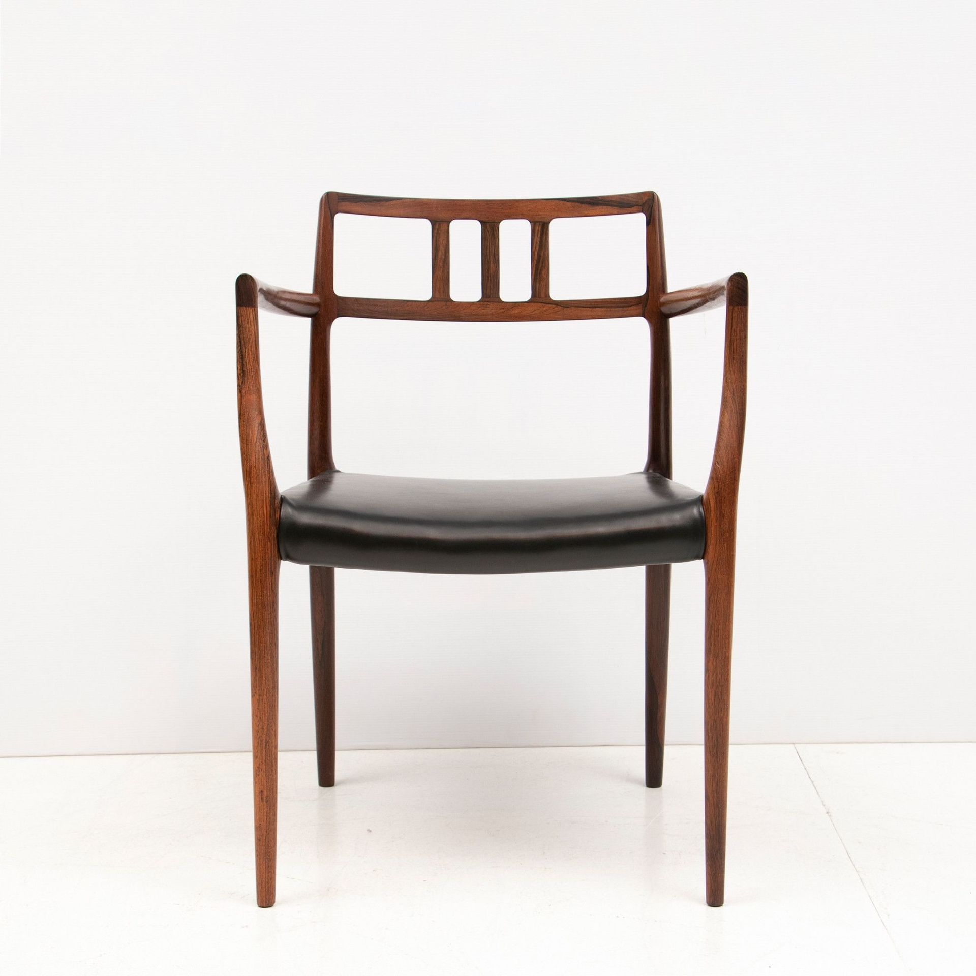 Most Up To Date Model 64 Armchair, Teak – Black Leather Inside Wallie Teak Garden Benches (View 27 of 30)