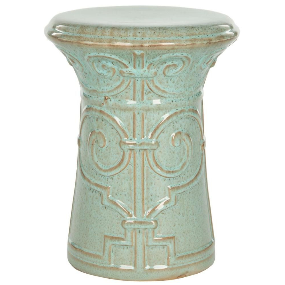 Most Up To Date Safavieh Imperial Scroll Reactive Aqua Ceramic Garden Stool With Regard To Lavin Ceramic Garden Stools (View 21 of 30)