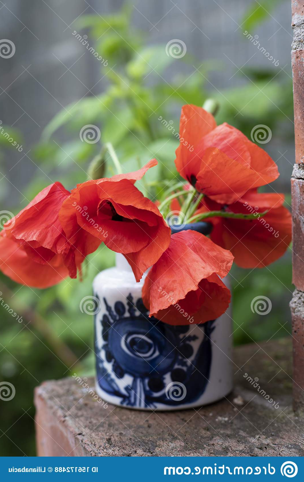 Most Up To Date Still Life ,wild Red Poppies On Brick Background In The Vase For Wilde Poppies Ceramic Garden Stools (View 29 of 30)