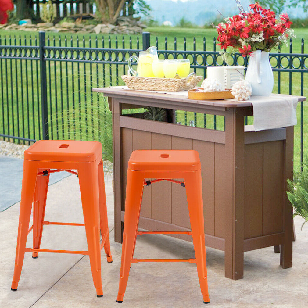 New Metal Chair Height Bar Stools 24 Inches Indoor/outdoor Stool Patio Furniture Throughout 2019 Holbrook Ceramic Garden Stools (View 16 of 30)