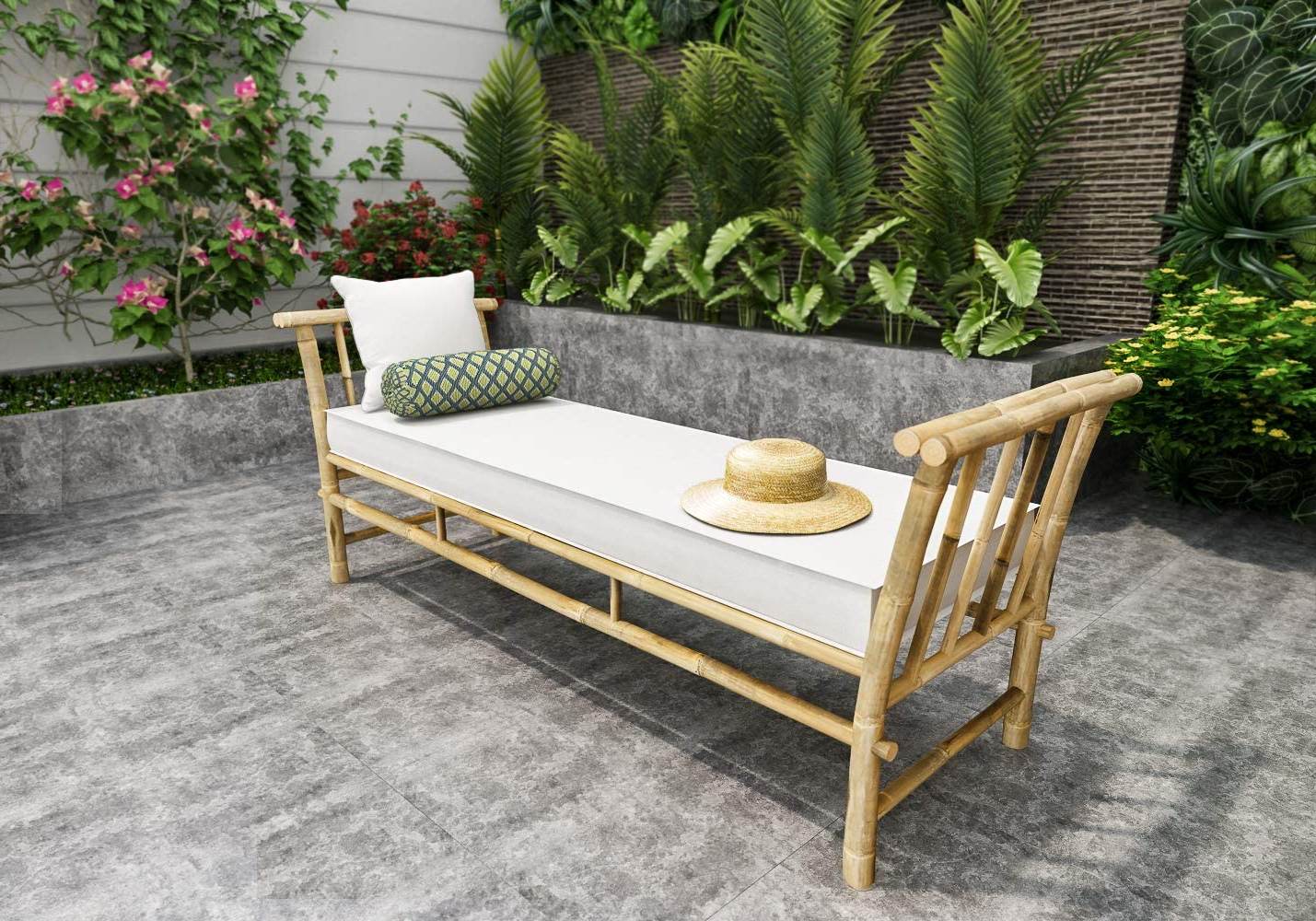 Newest Brecken Teak Garden Benches Throughout Zew Bamboo Daybed Lounger Bench Sofa Chair Loveseat For Outdoor Indoor Patio Garden With Mattress, Blue White Stripe (View 22 of 30)