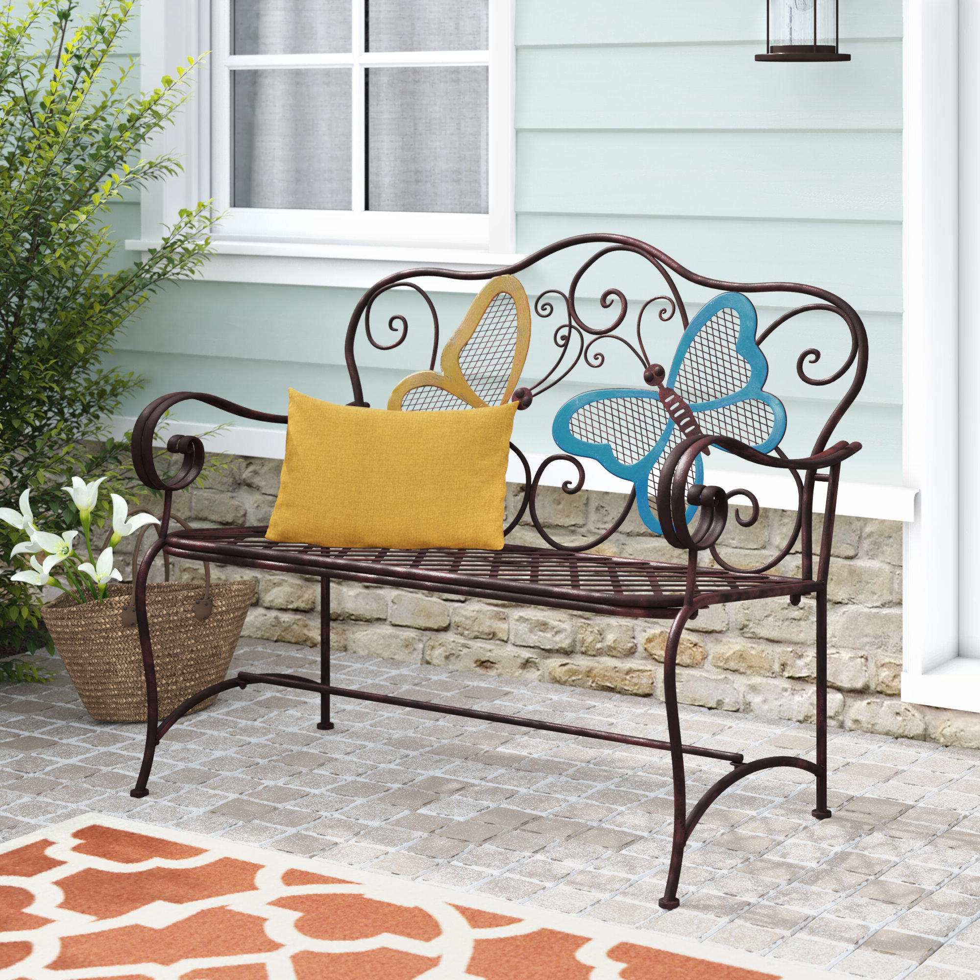 Featured Photo of Caryn Colored Butterflies Metal Garden Benches