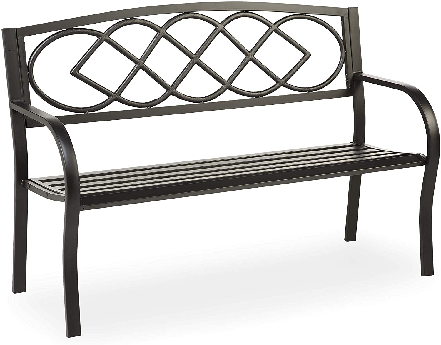 Newest Celtic Knot Iron Garden Benches In Plow & Hearth Celtic Knot Patio Garden Bench Park Yard Outdoor Furniture, Cast And Tubular Iron Metal, Powder Coat Black Finish, Classic Decorative (View 7 of 30)