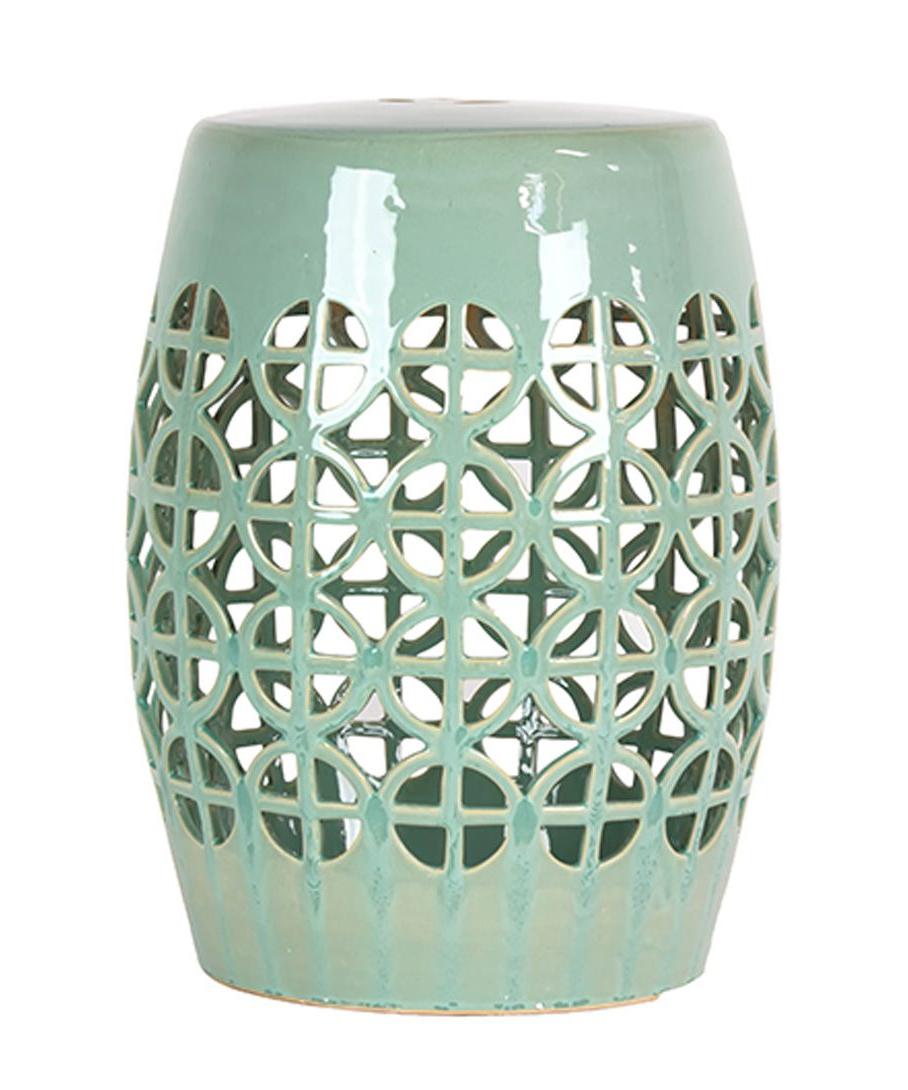 Newest Keswick Ceramic Garden Stools Pertaining To Mint Green Lattice Garden Stool (View 18 of 30)