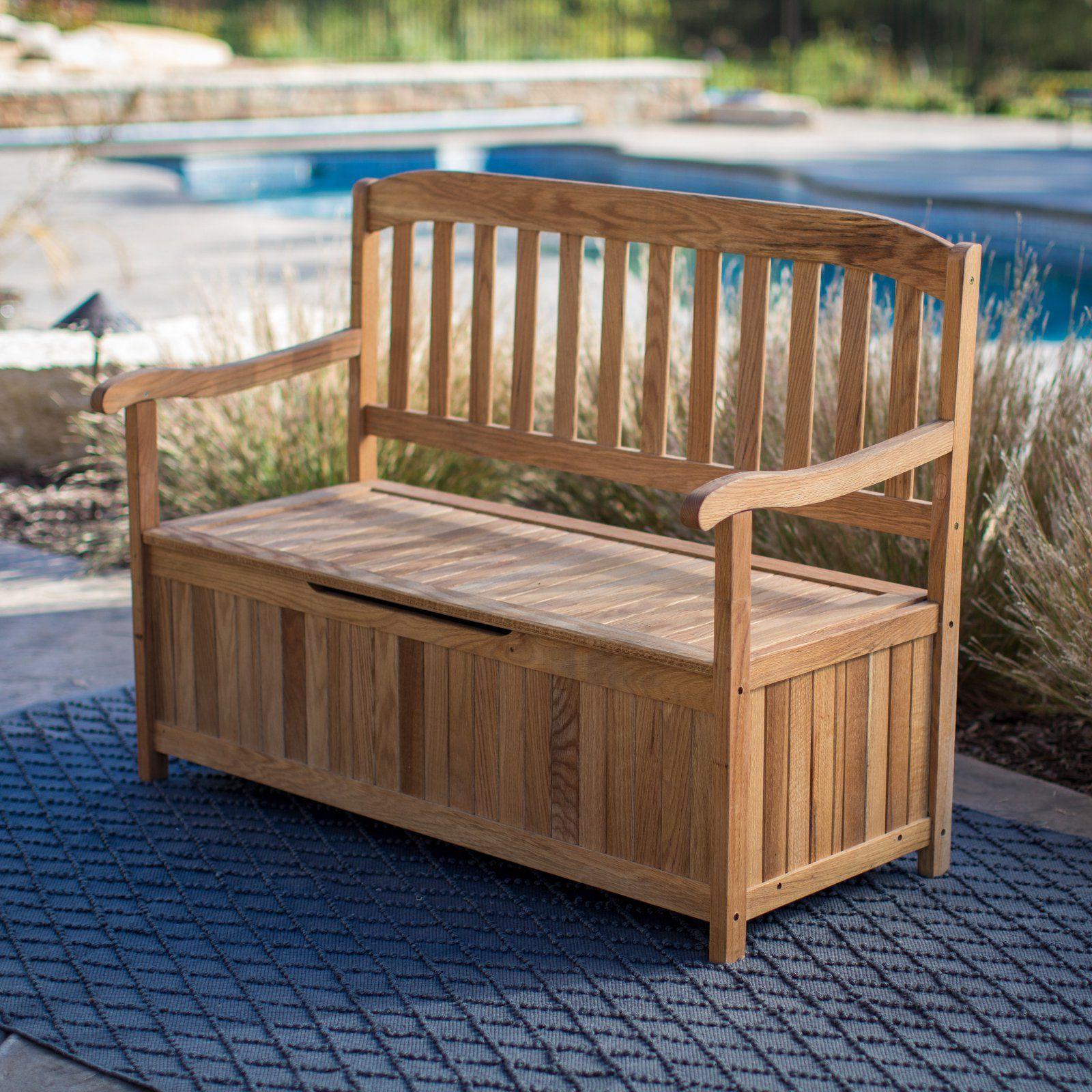 Newest Krystal Ergonomic Metal Garden Benches Intended For Belham Living Irwin Oak Storage Bench In  (View 22 of 30)