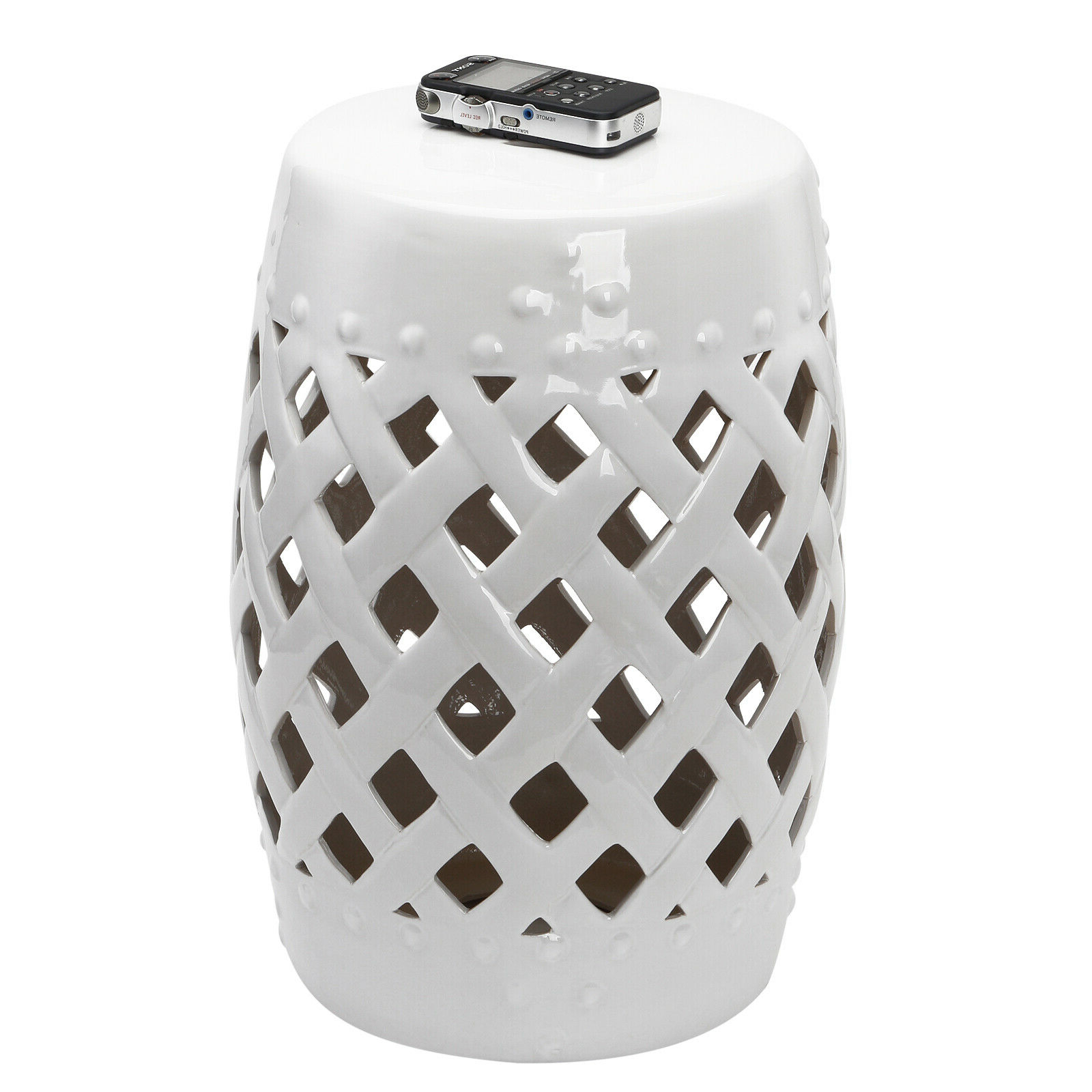 Newest Standwood Metal Garden Stools Pertaining To Outsunny Modern Ceramic Lattice Garden Stool Accent Table Decorative White (View 6 of 30)