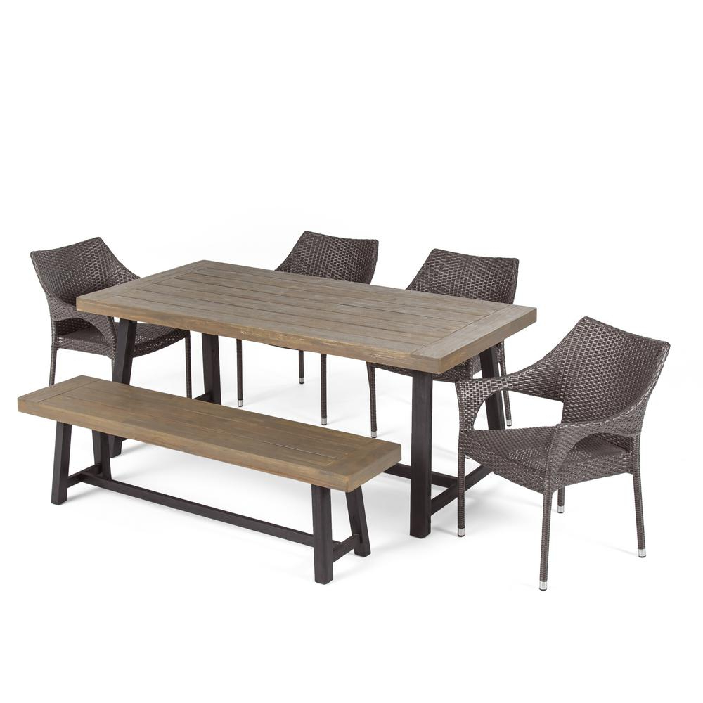 Noble House Brecken Sandblast Grey 6 Piece Wood And Grey Wicker Outdoor Dining Set 53844 – The Home Depot In Popular Brecken Teak Garden Benches (View 19 of 30)
