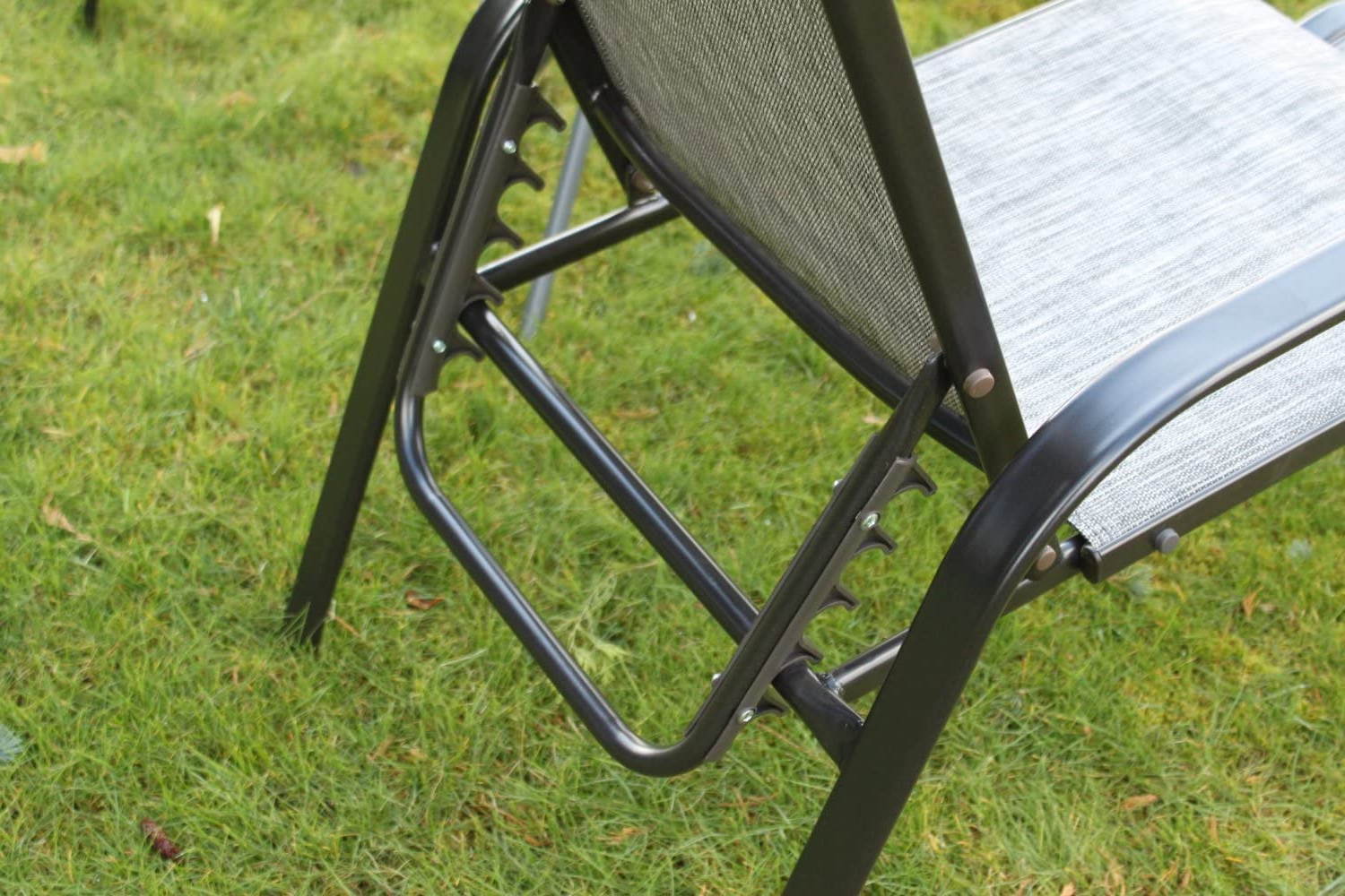 Norrie Metal Garden Benches Pertaining To Most Current Olive Grove Set Of 2 Reclining Garden Chairs With 2 Foot Stools And A Side  Table – Grey Weatherproof Textoline (View 22 of 30)
