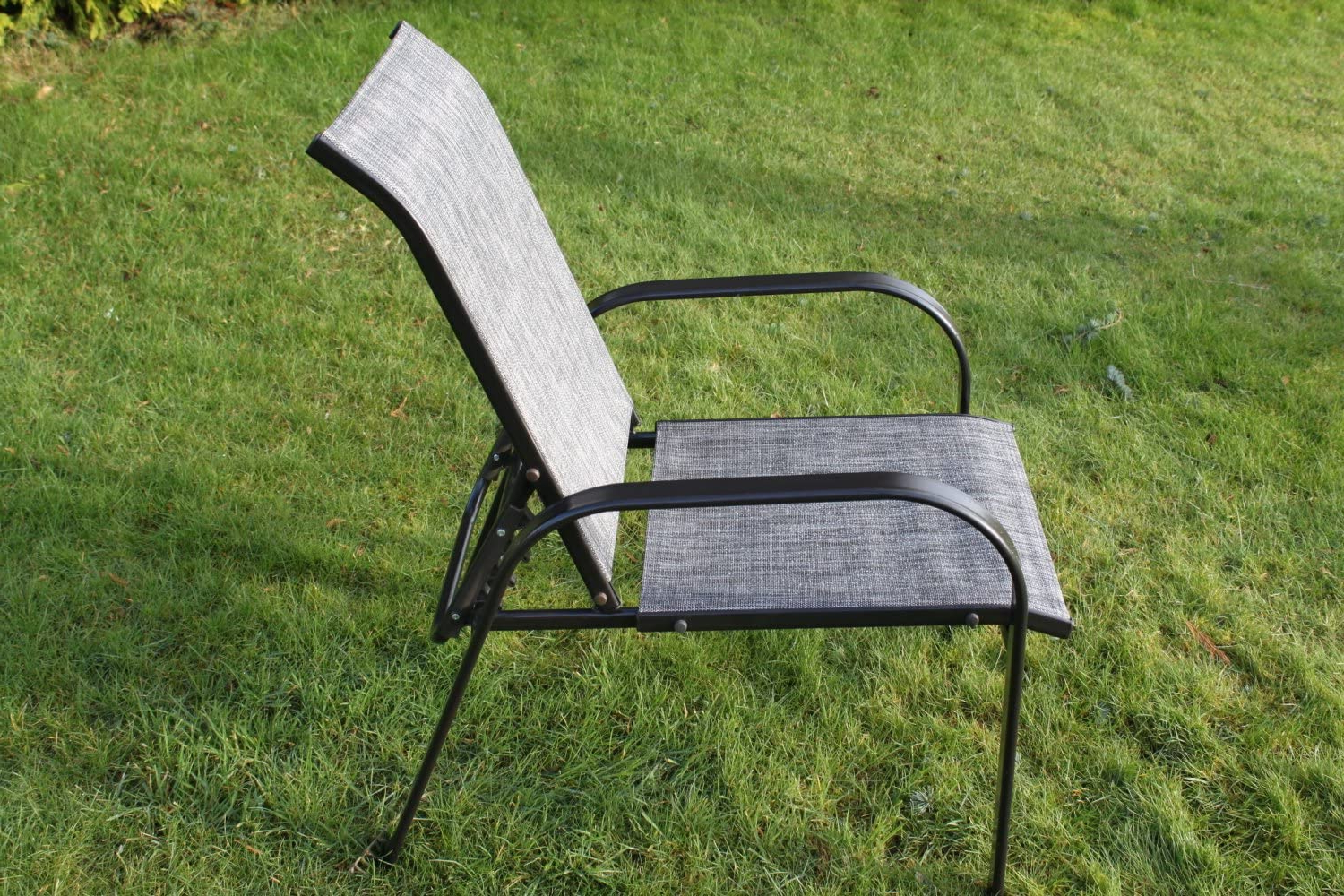 Norrie Metal Garden Benches Throughout Well Known Olive Grove Set Of 2 Reclining Garden Chairs With 2 Foot Stools And A Side  Table – Grey Weatherproof Textoline (View 21 of 30)