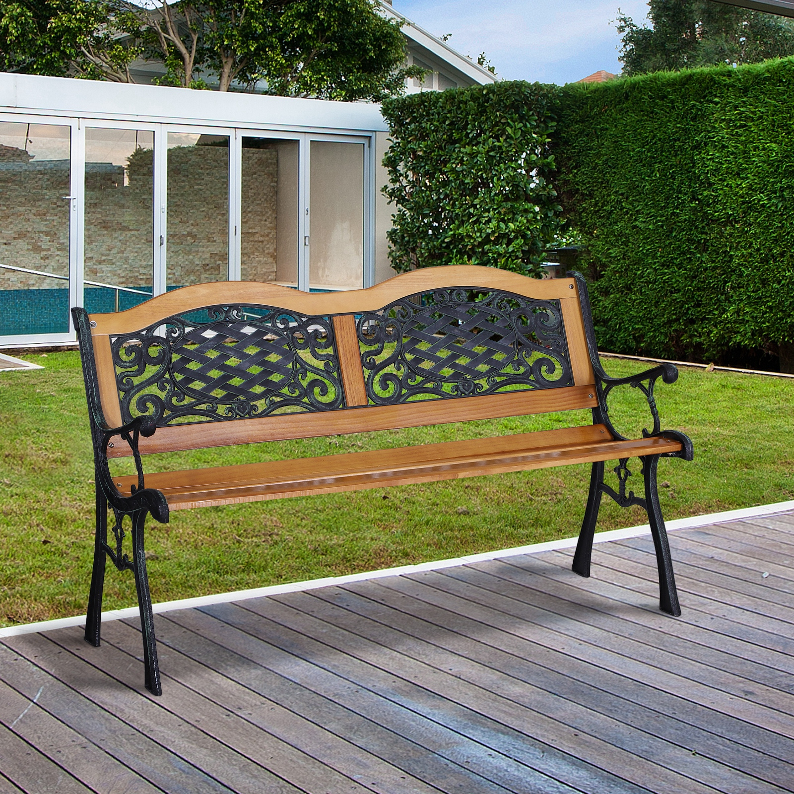 Ogród I Taras Cast Iron & Hardwood Classic Outdoor Garden Intended For Well Liked Madeline Vintage Bird Cast Iron Garden Benches (View 27 of 30)
