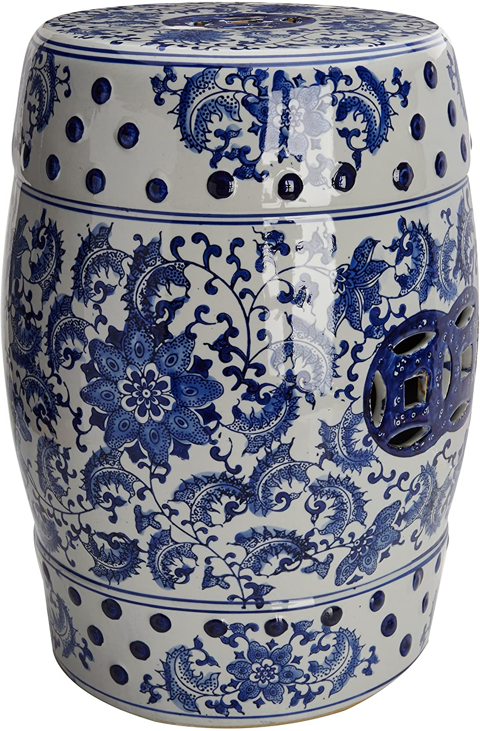 "Oriental Furniture 18"" Floral Blue & White Porcelain Garden Stool For Most Up To Date Ceramic Garden Stools (View 1 of 30)"